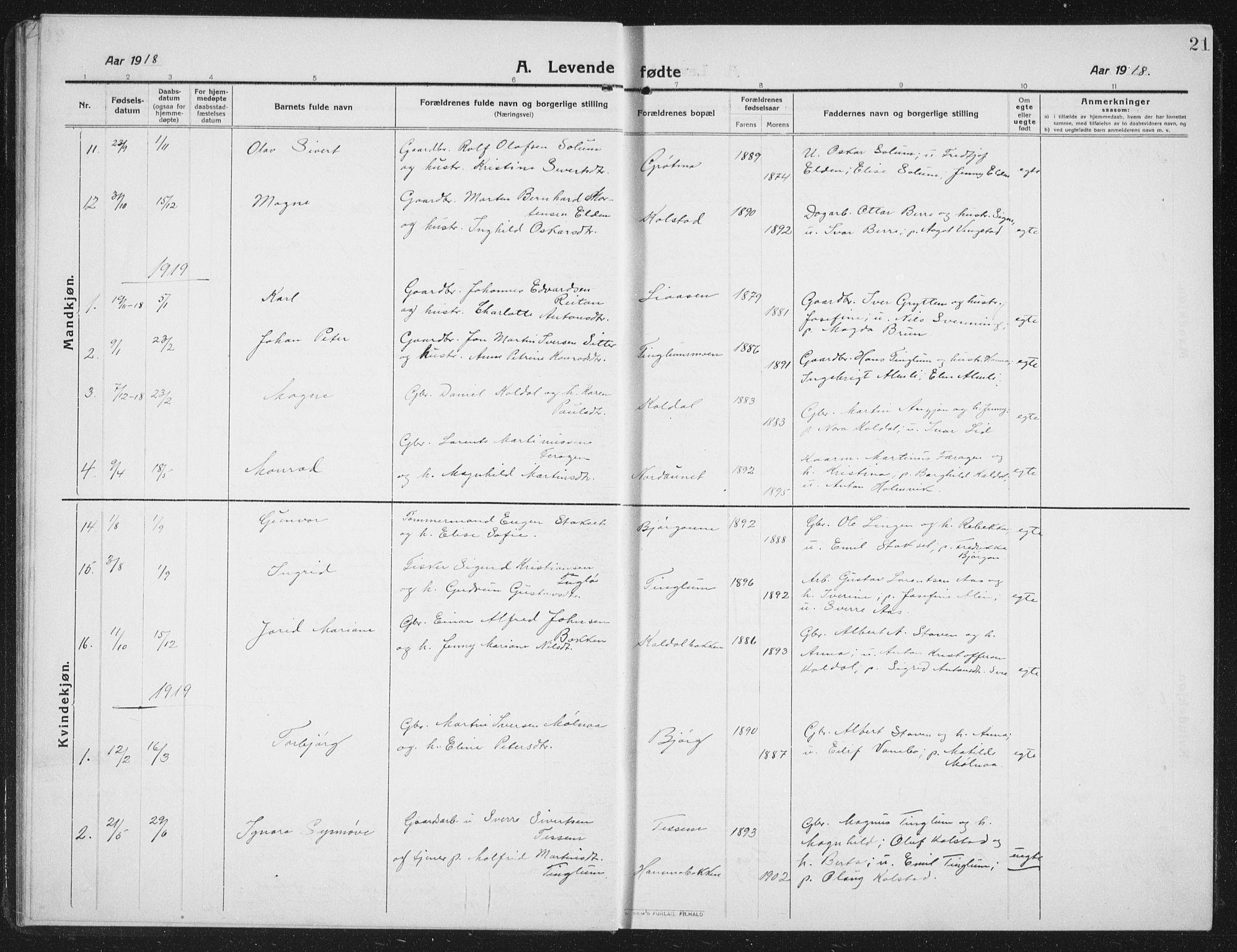 SAT, Ministerialprotokoller, klokkerbøker og fødselsregistre - Nord-Trøndelag, 742/L0413: Klokkerbok nr. 742C04, 1911-1938, s. 21