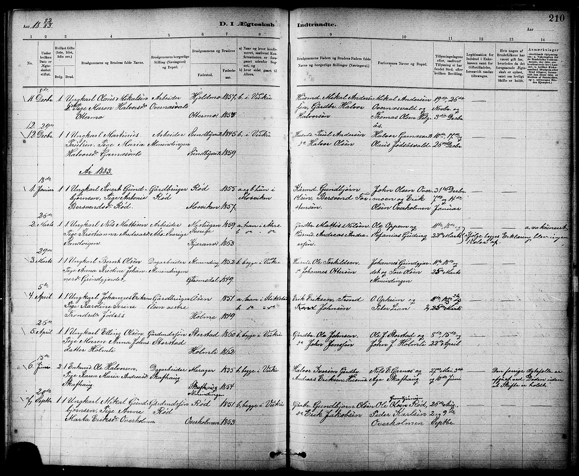 SAT, Ministerialprotokoller, klokkerbøker og fødselsregistre - Nord-Trøndelag, 724/L0267: Klokkerbok nr. 724C03, 1879-1898, s. 210