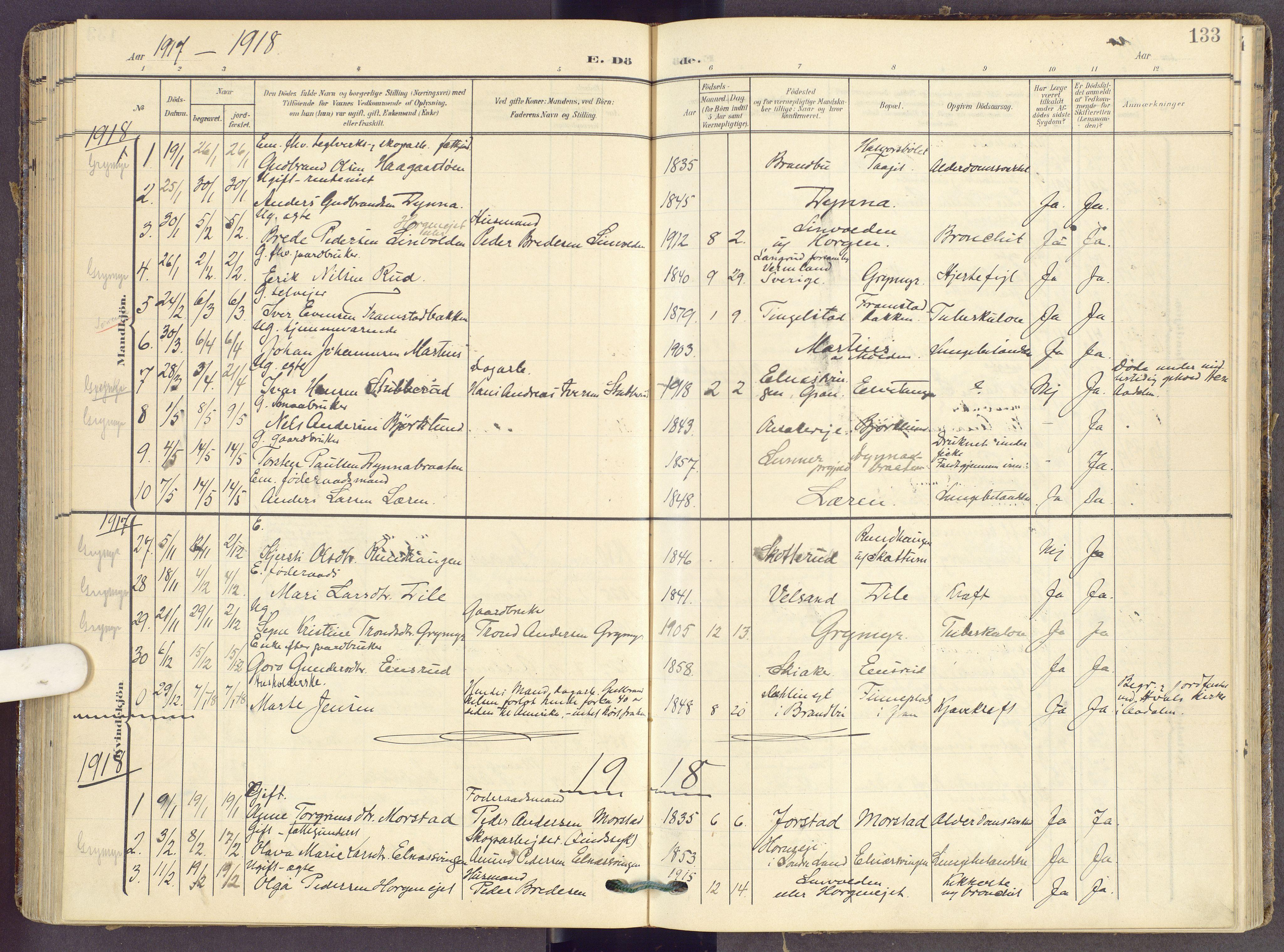 SAH, Gran prestekontor, Ministerialbok nr. 22, 1908-1918, s. 133