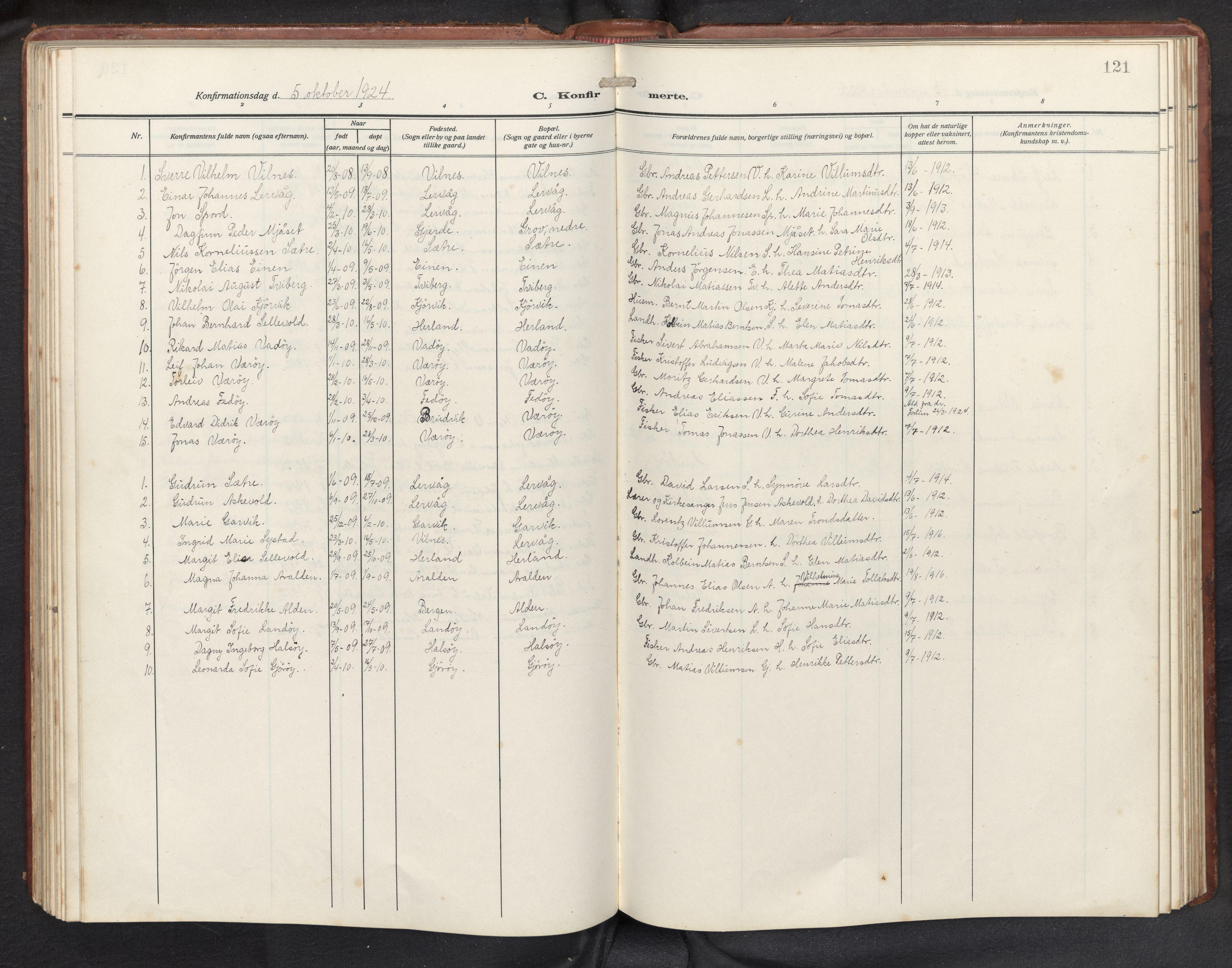 SAB, Askvoll sokneprestembete, H/Hab/Habb/L0002: Klokkerbok nr. B 2, 1910-1947, s. 120b-121a