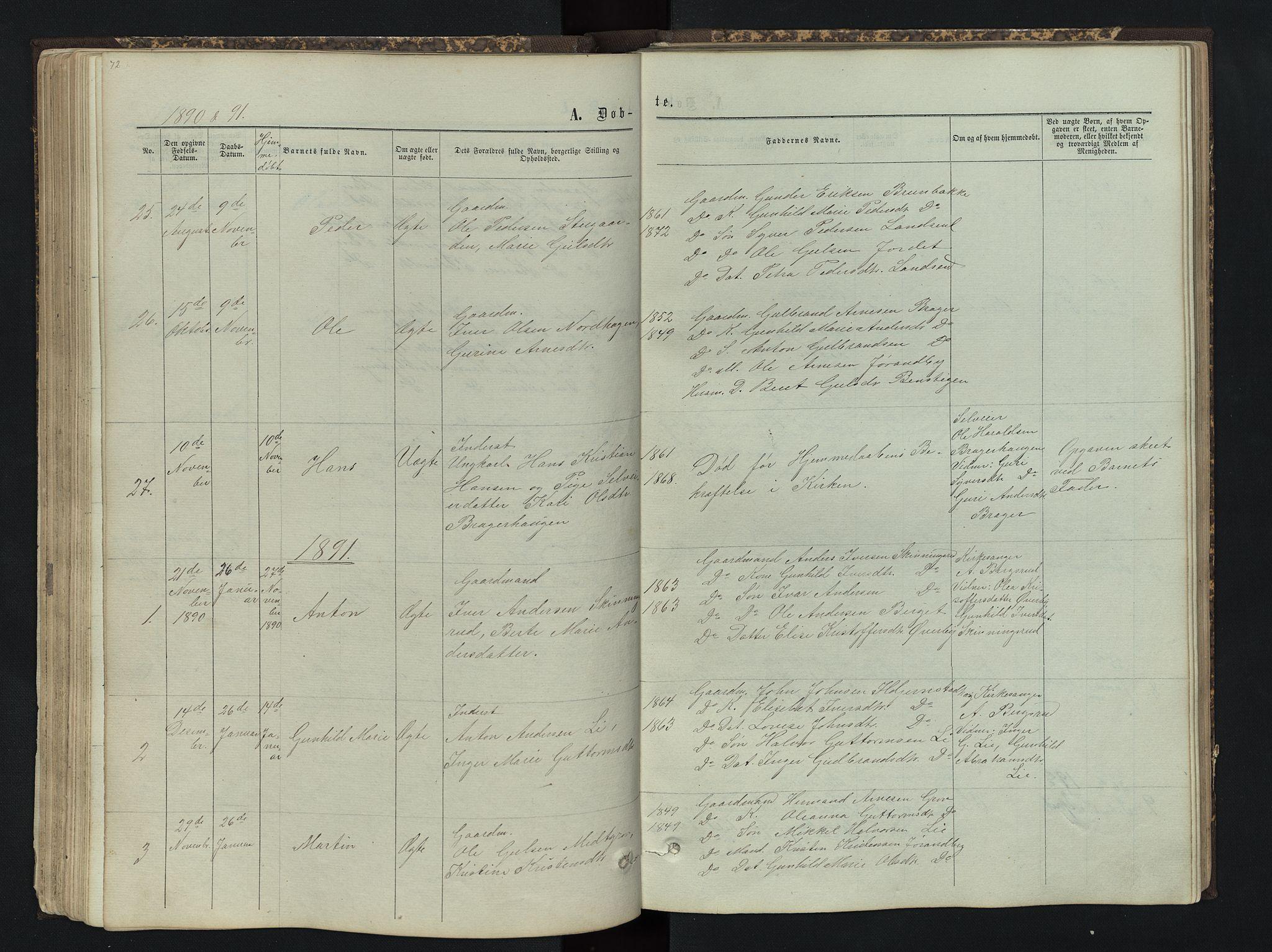SAH, Sør-Aurdal prestekontor, Klokkerbok nr. 4, 1865-1893, s. 72