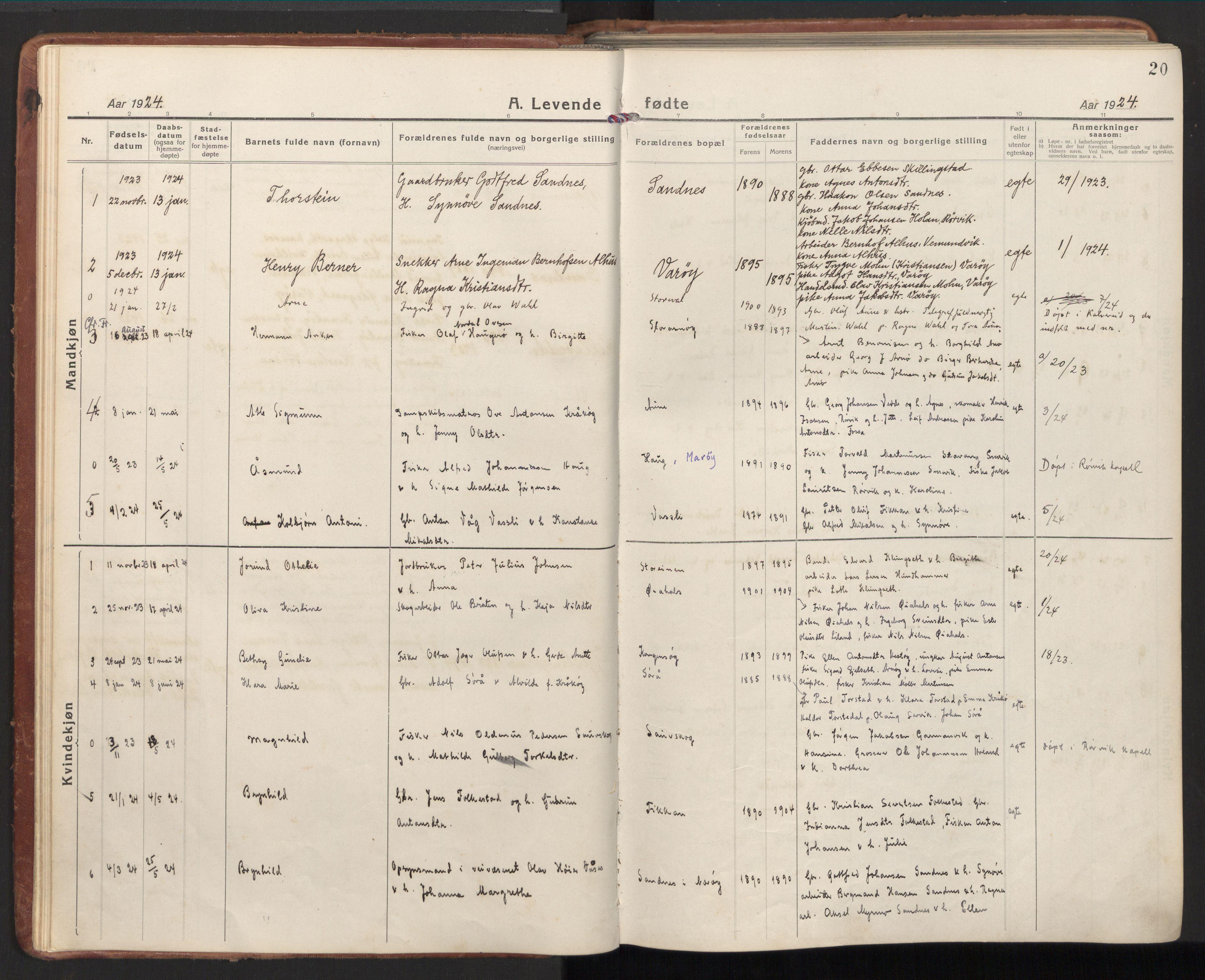 SAT, Ministerialprotokoller, klokkerbøker og fødselsregistre - Nord-Trøndelag, 784/L0678: Ministerialbok nr. 784A13, 1921-1938, s. 20