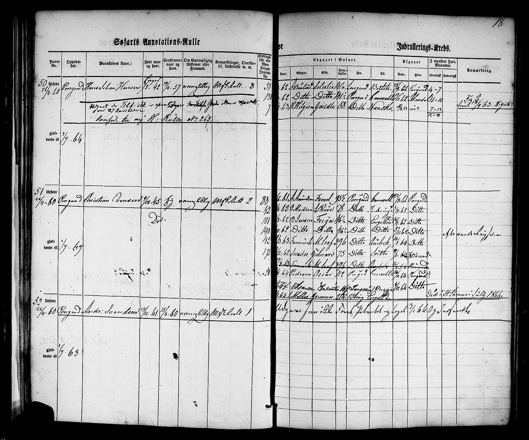 SAKO, Porsgrunn innrulleringskontor, F/Fb/L0001: Annotasjonsrulle, 1860-1868, s. 46