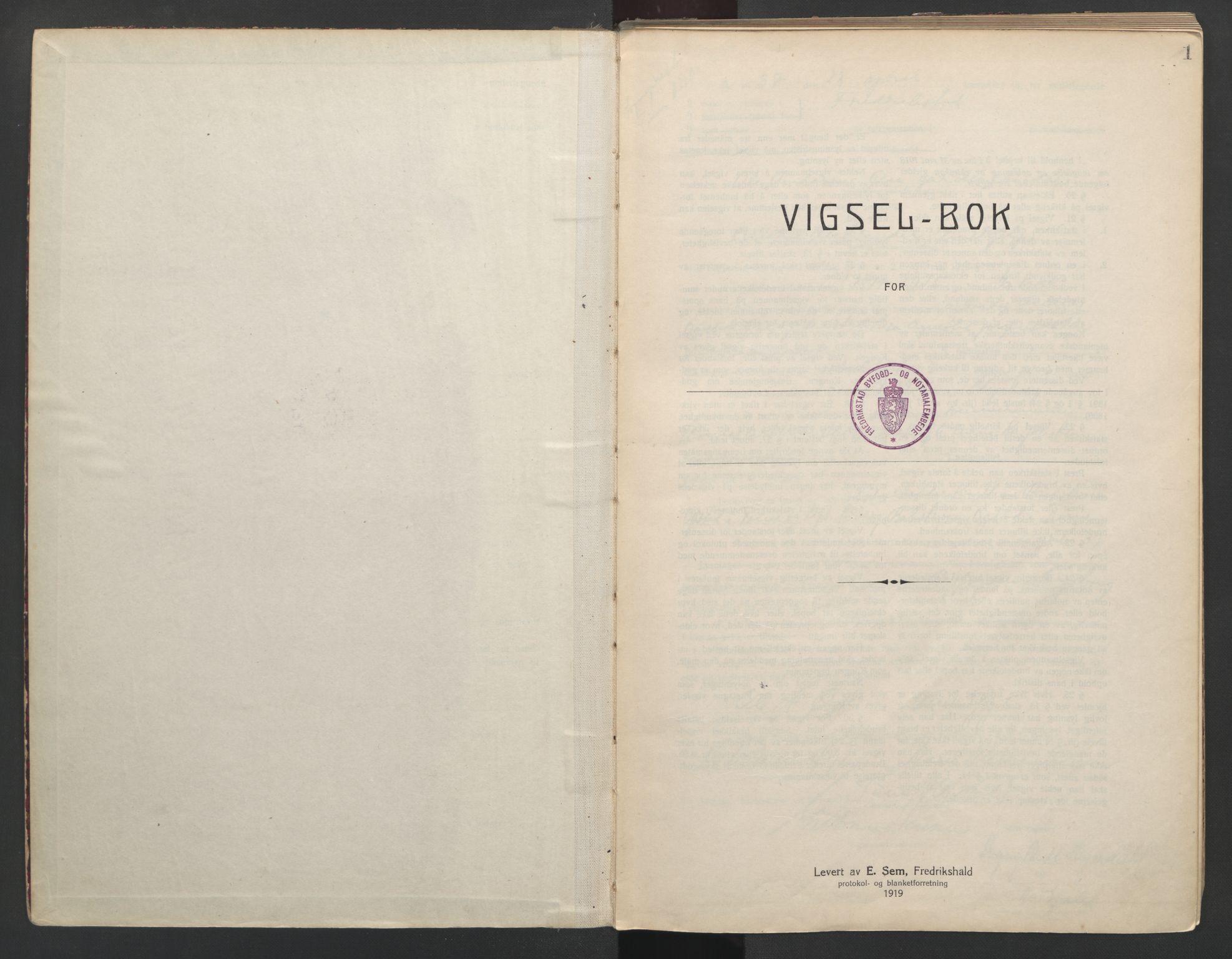 SAO, Fredrikstad byfogd, L/Lc/L0002: Vigselsbok, 1937-1943, s. 1