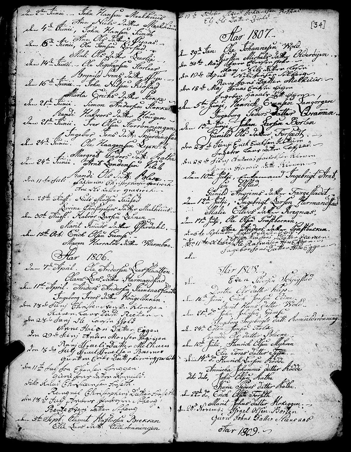 SAT, Ministerialprotokoller, klokkerbøker og fødselsregistre - Sør-Trøndelag, 691/L1091: Klokkerbok nr. 691C02, 1802-1815, s. 34