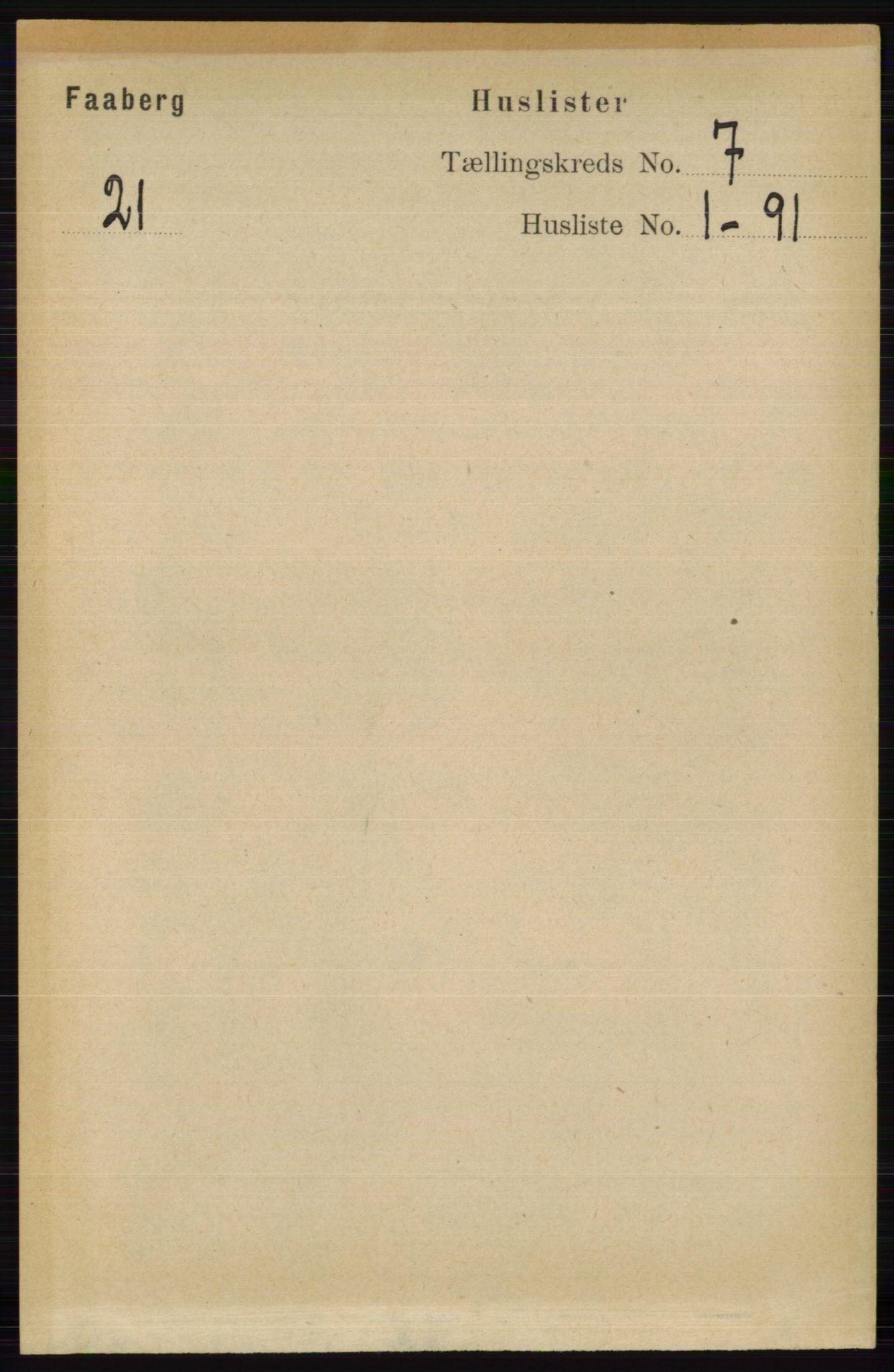 RA, Folketelling 1891 for 0524 Fåberg herred, 1891, s. 2682