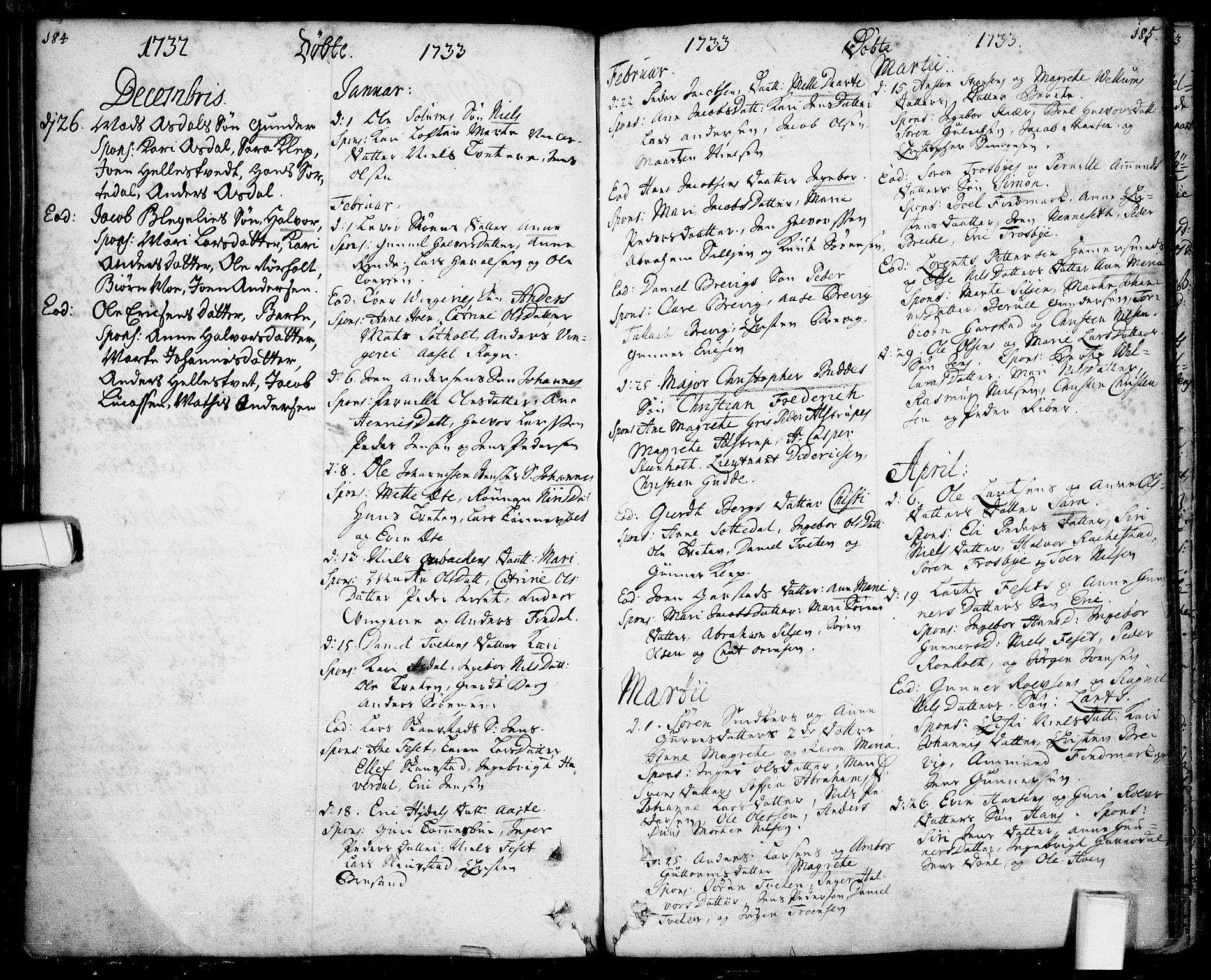 SAKO, Bamble kirkebøker, F/Fa/L0001: Ministerialbok nr. I 1, 1702-1774, s. 184-185