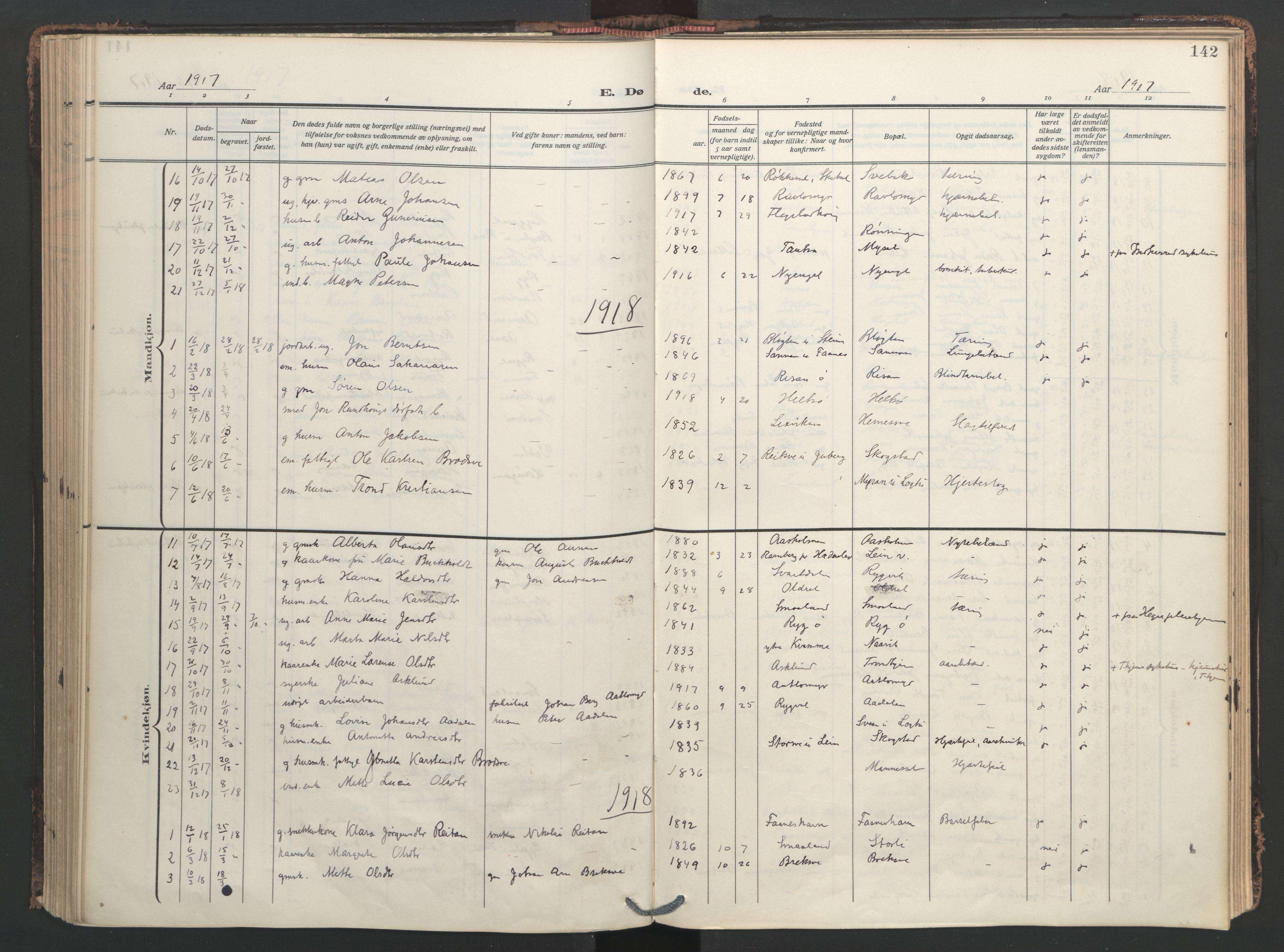 SAT, Ministerialprotokoller, klokkerbøker og fødselsregistre - Nord-Trøndelag, 713/L0123: Ministerialbok nr. 713A12, 1911-1925, s. 142