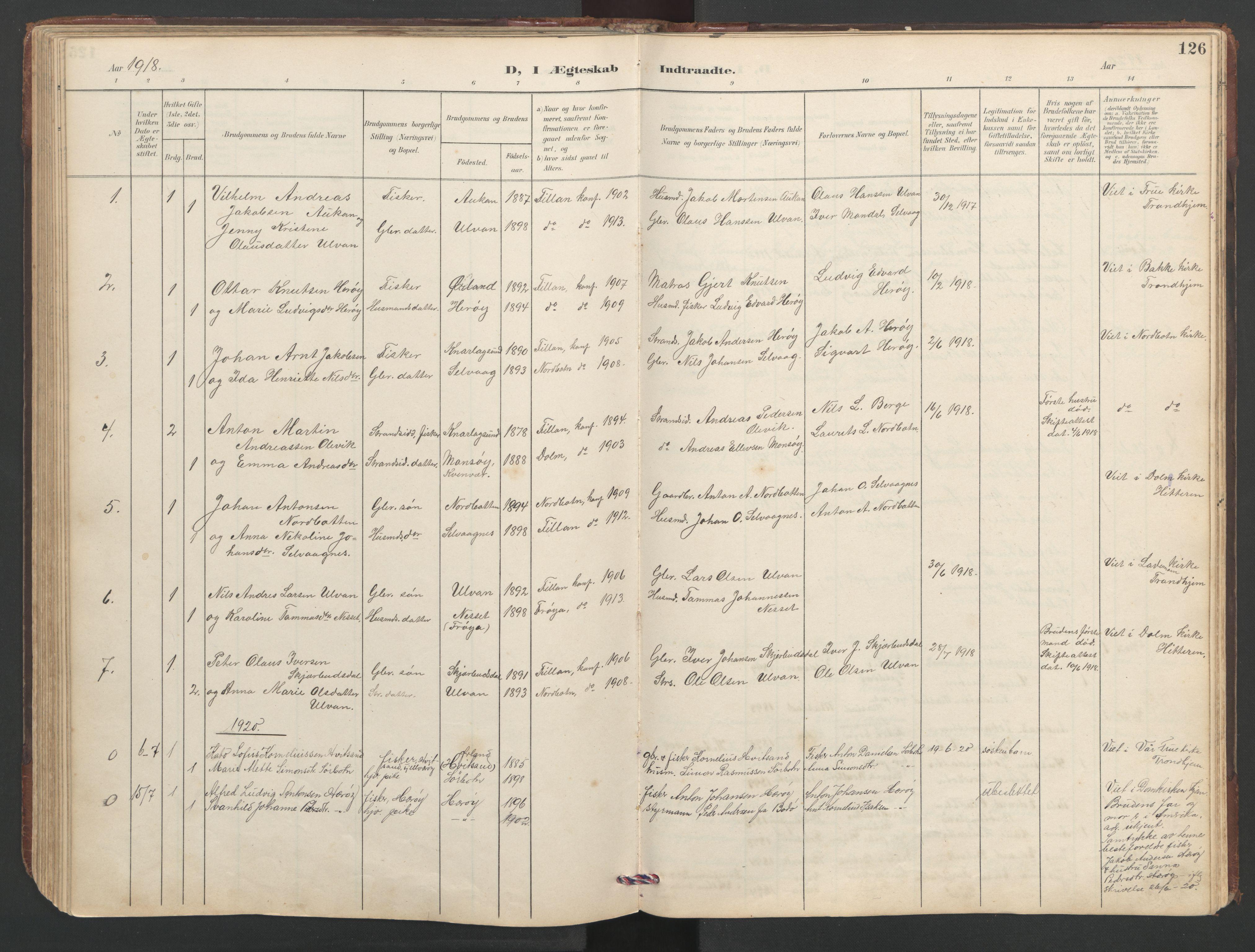 SAT, Ministerialprotokoller, klokkerbøker og fødselsregistre - Sør-Trøndelag, 638/L0571: Klokkerbok nr. 638C03, 1901-1930, s. 126