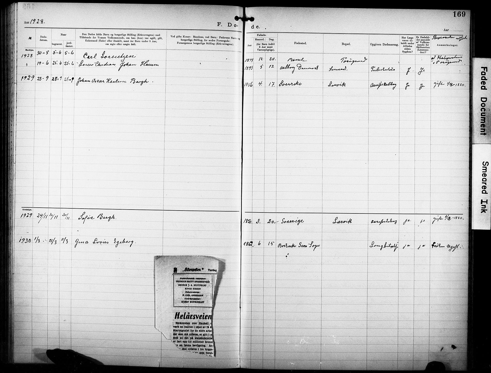 SAKO, Den katolsk-apostoliske menighet i Larvik, F/Fa/L0001: Dissenterprotokoll nr. 1, 1892-1933, s. 169