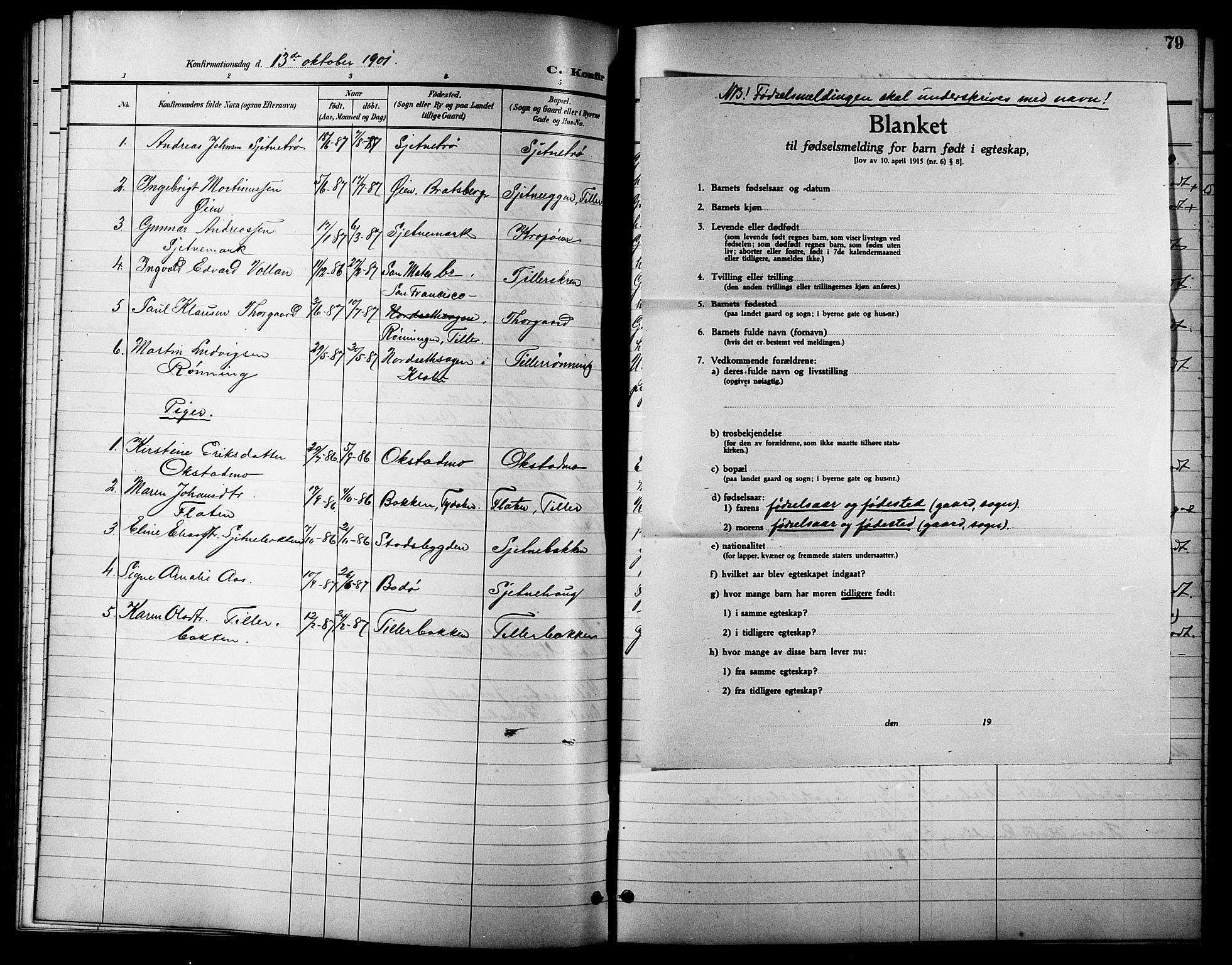SAT, Ministerialprotokoller, klokkerbøker og fødselsregistre - Sør-Trøndelag, 621/L0460: Klokkerbok nr. 621C03, 1896-1914, s. 79