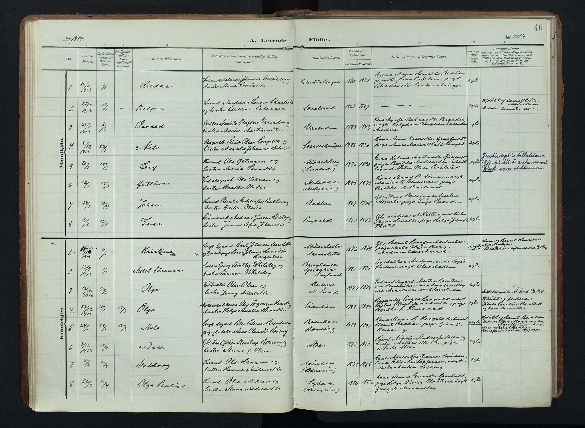 SAH, Søndre Land prestekontor, K/L0005: Ministerialbok nr. 5, 1905-1914, s. 40