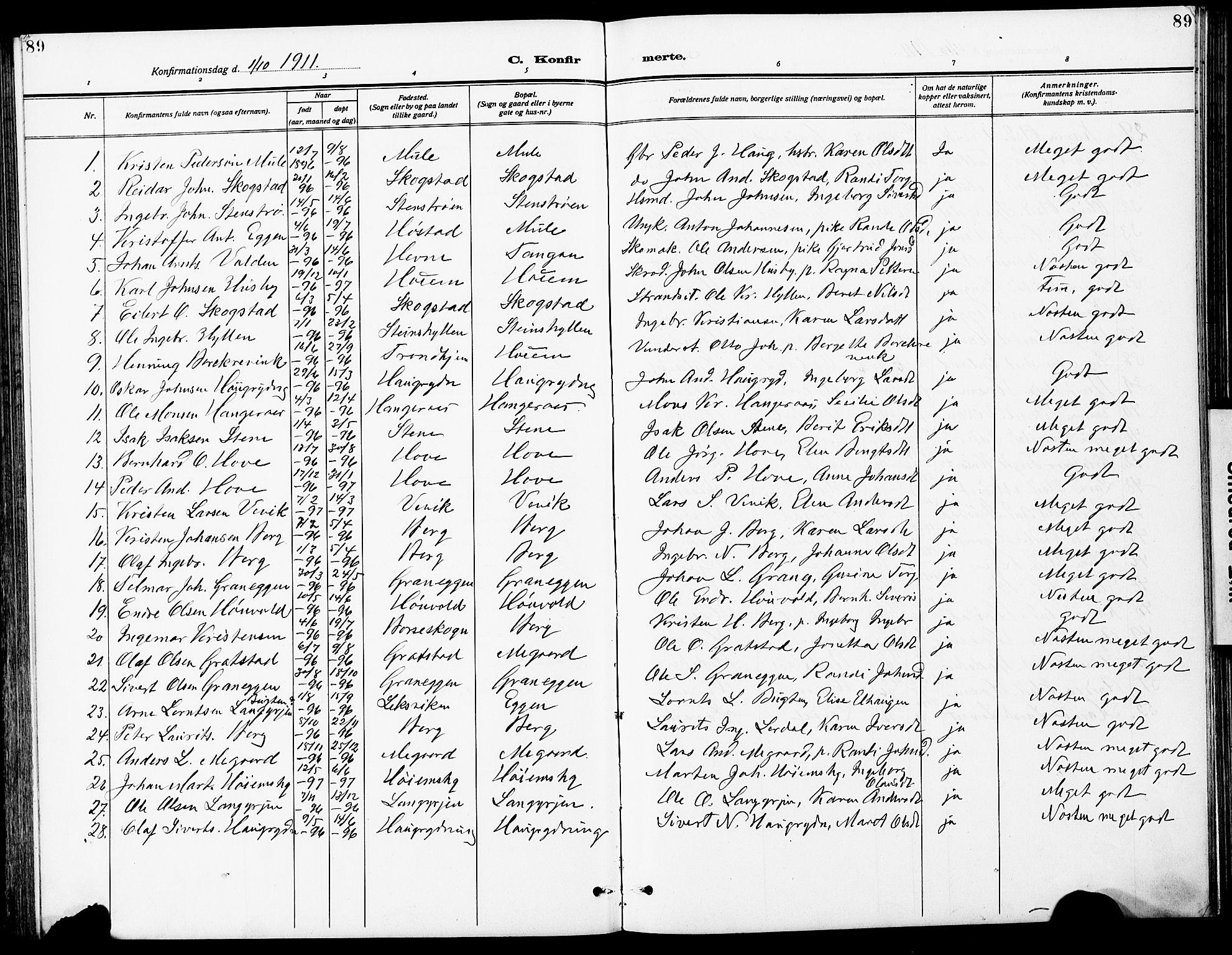 SAT, Ministerialprotokoller, klokkerbøker og fødselsregistre - Sør-Trøndelag, 612/L0388: Klokkerbok nr. 612C04, 1909-1929, s. 89