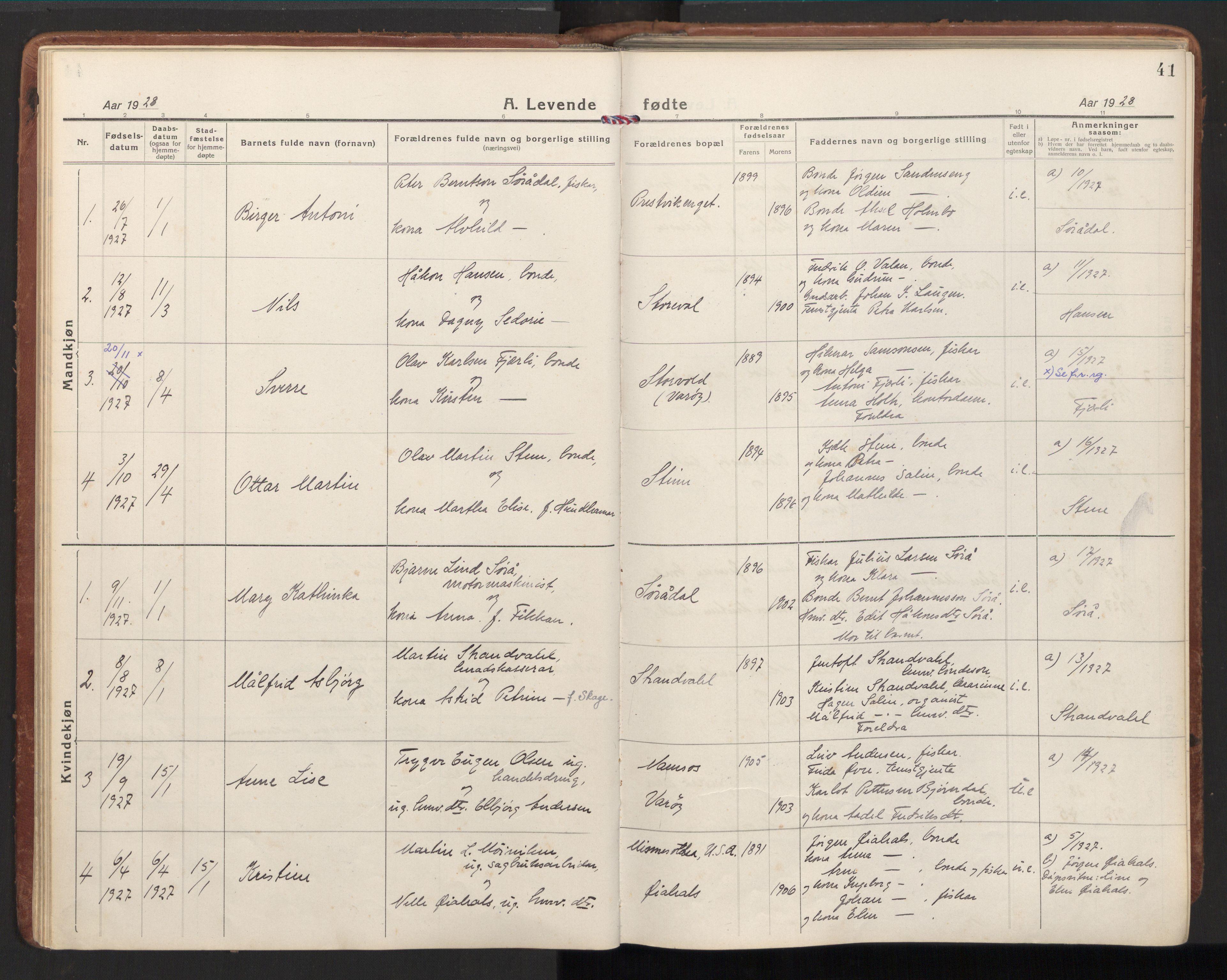SAT, Ministerialprotokoller, klokkerbøker og fødselsregistre - Nord-Trøndelag, 784/L0678: Ministerialbok nr. 784A13, 1921-1938, s. 41