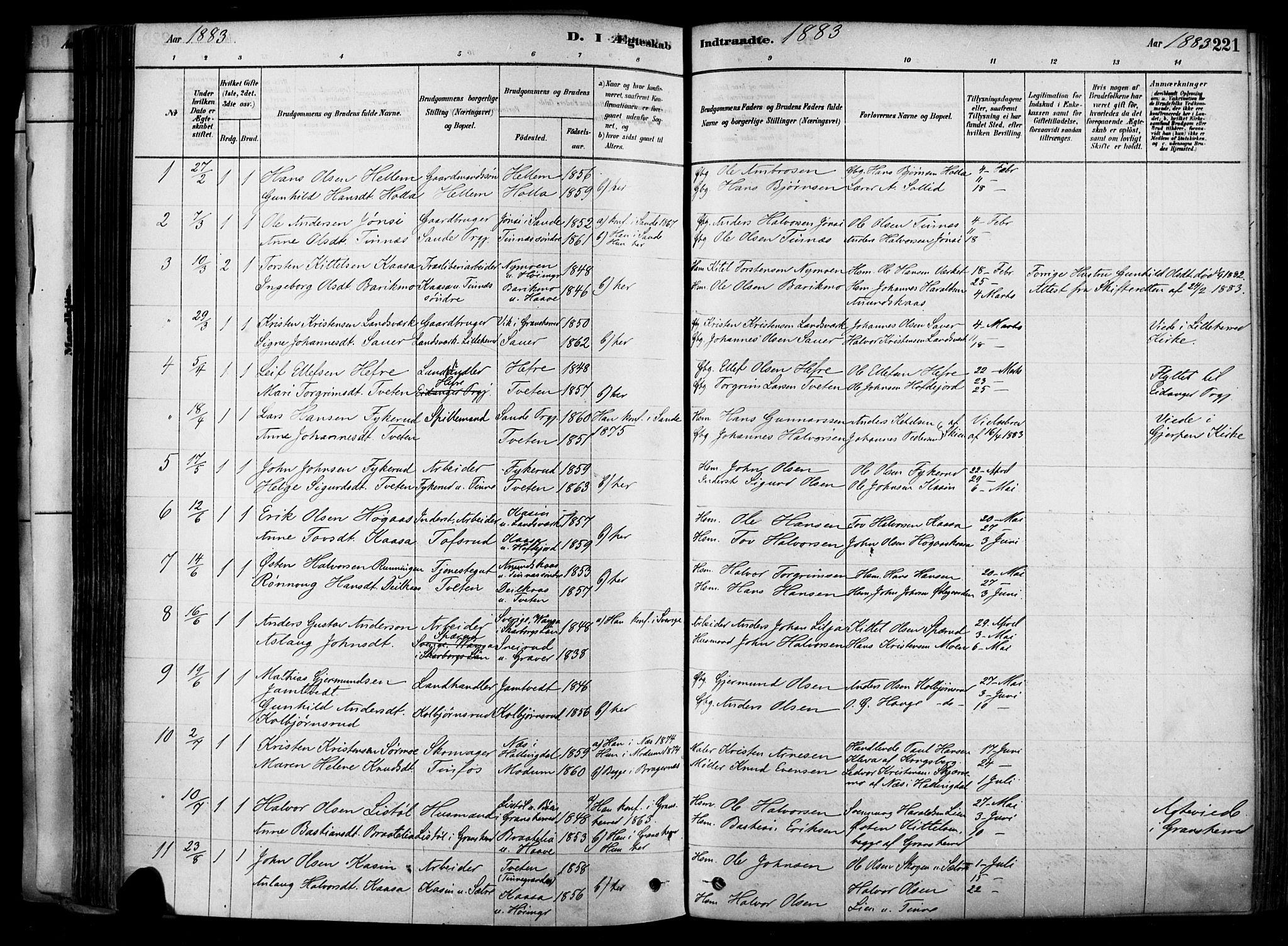 SAKO, Heddal kirkebøker, F/Fa/L0008: Ministerialbok nr. I 8, 1878-1903, s. 221