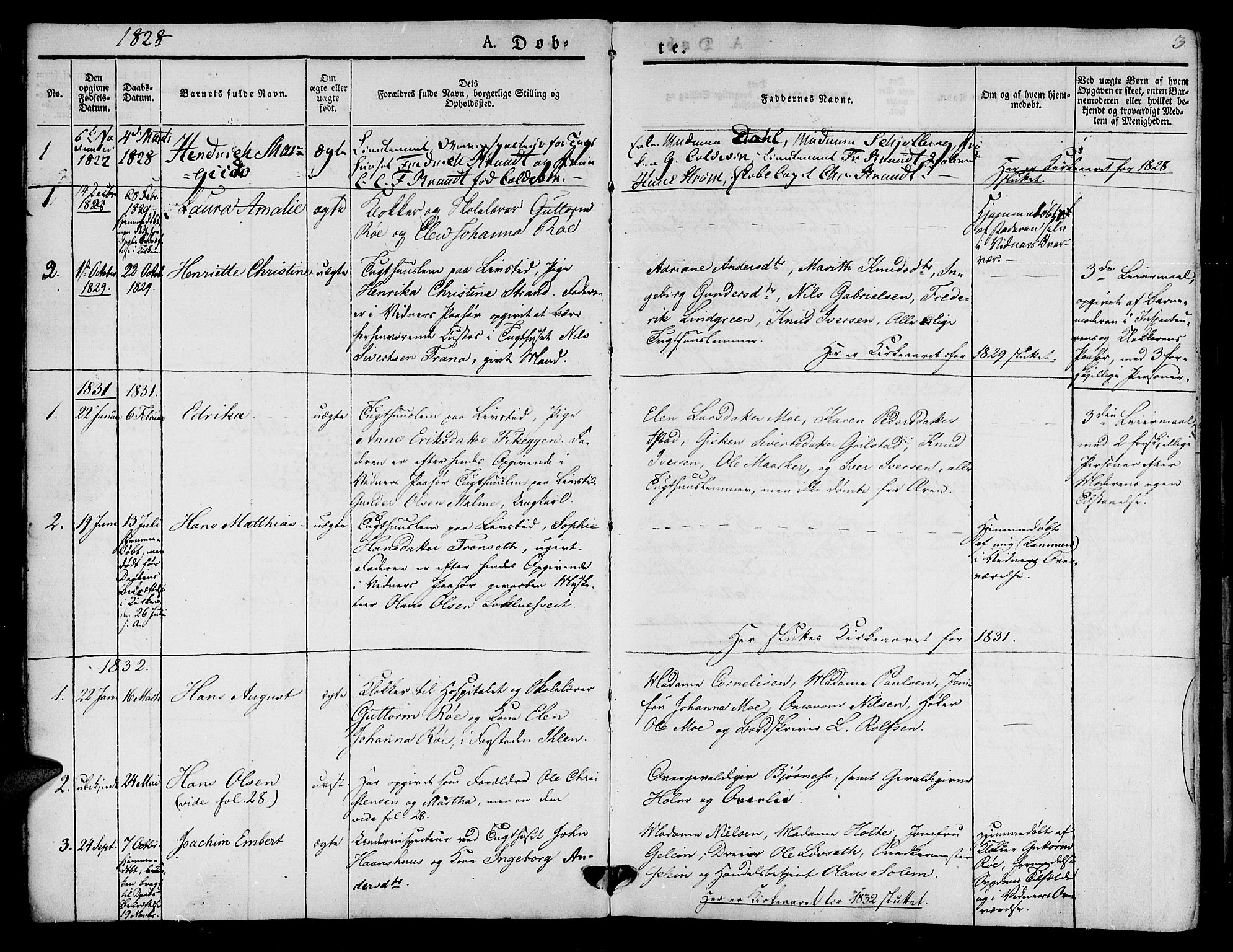 SAT, Ministerialprotokoller, klokkerbøker og fødselsregistre - Sør-Trøndelag, 623/L0468: Ministerialbok nr. 623A02, 1826-1867, s. 3