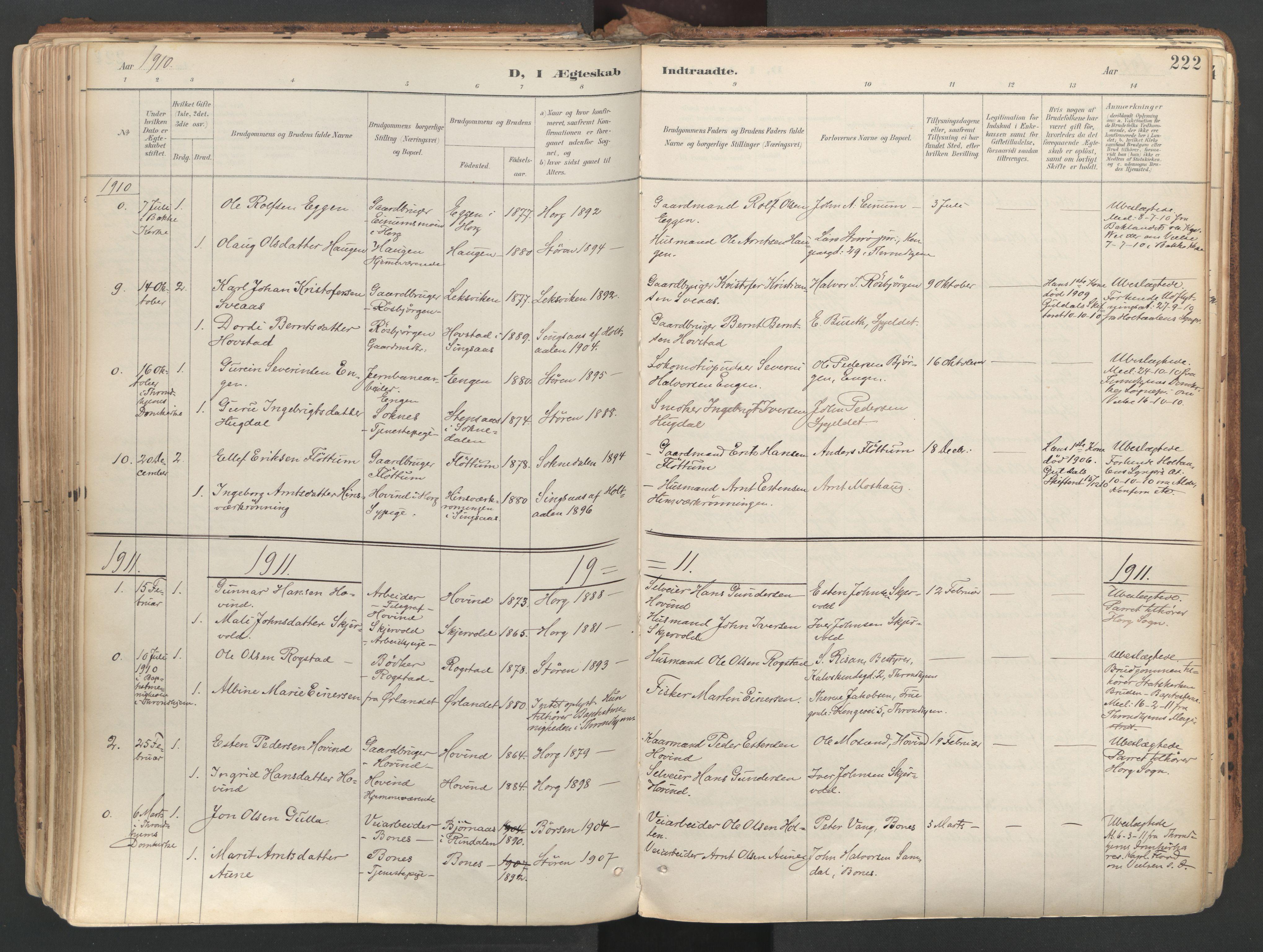 SAT, Ministerialprotokoller, klokkerbøker og fødselsregistre - Sør-Trøndelag, 687/L1004: Ministerialbok nr. 687A10, 1891-1923, s. 222