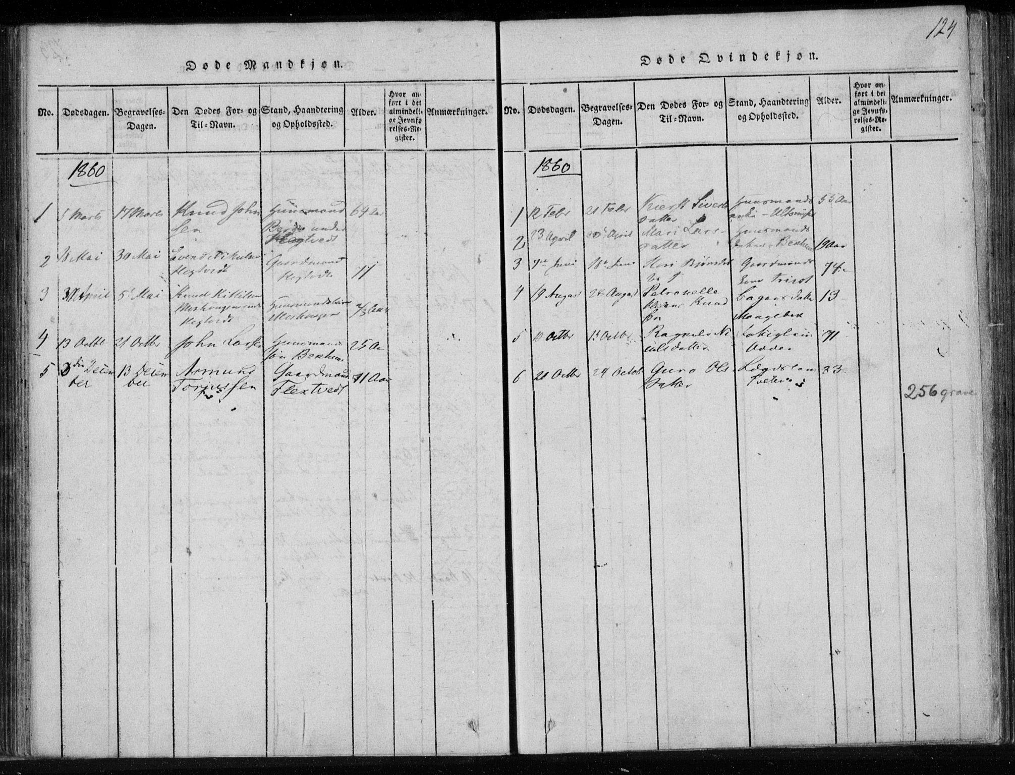 SAKO, Lårdal kirkebøker, F/Fa/L0005: Ministerialbok nr. I 5, 1815-1860, s. 124