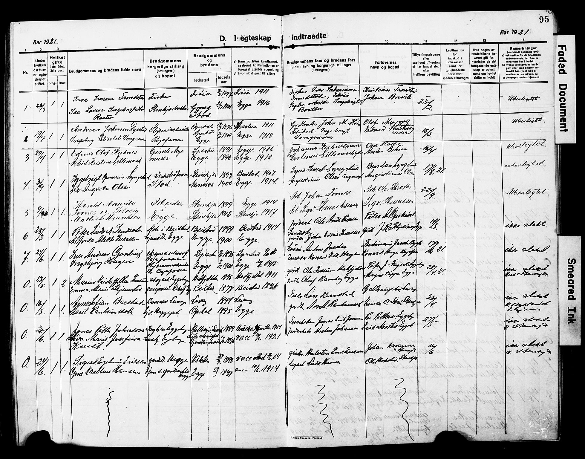 SAT, Ministerialprotokoller, klokkerbøker og fødselsregistre - Nord-Trøndelag, 740/L0382: Klokkerbok nr. 740C03, 1915-1927, s. 95