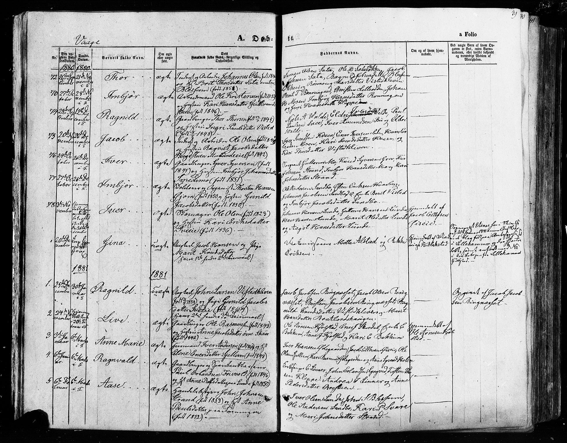 SAH, Vågå prestekontor, Ministerialbok nr. 7 /1, 1872-1886, s. 39