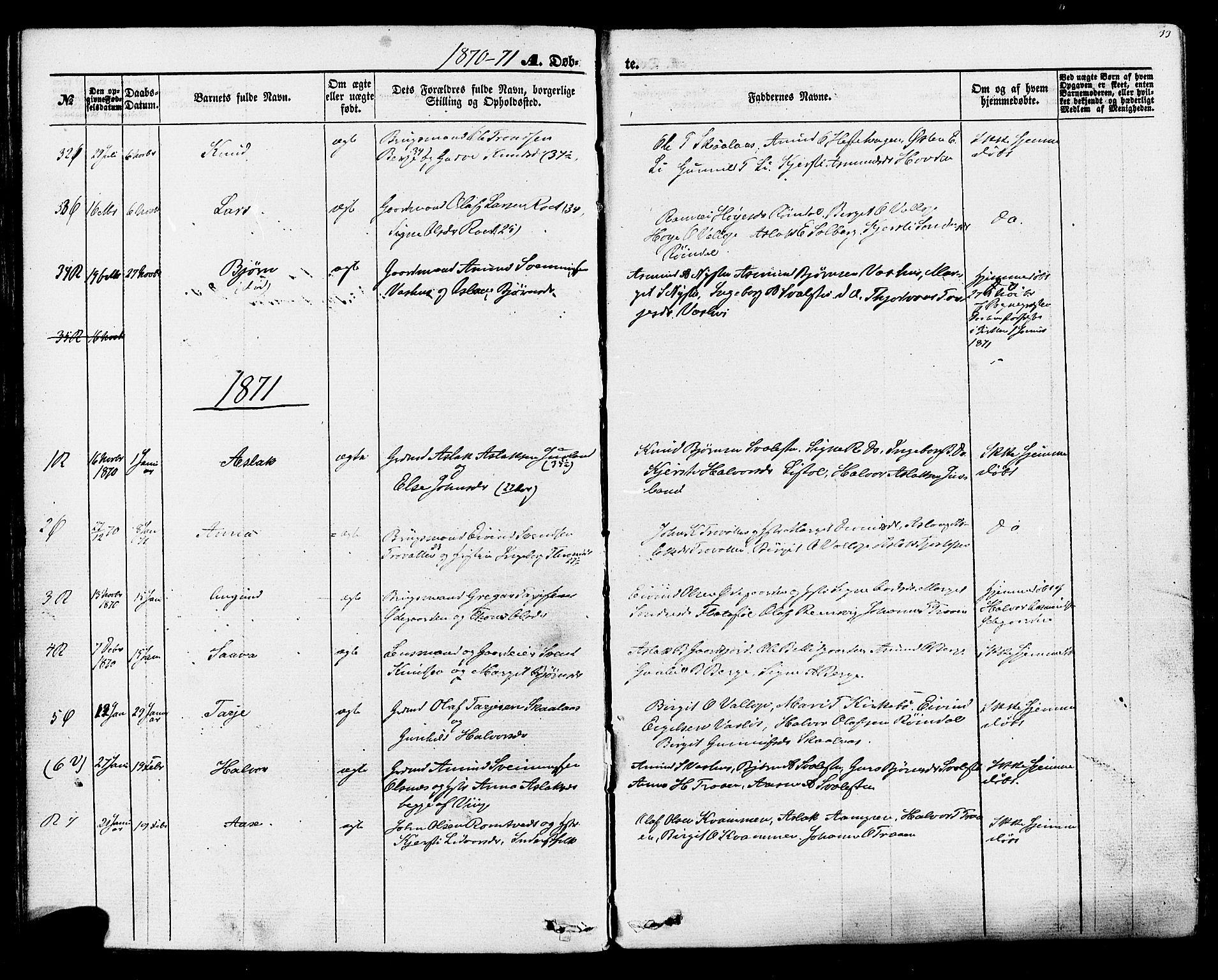 SAKO, Rauland kirkebøker, F/Fa/L0003: Ministerialbok nr. 3, 1859-1886, s. 33