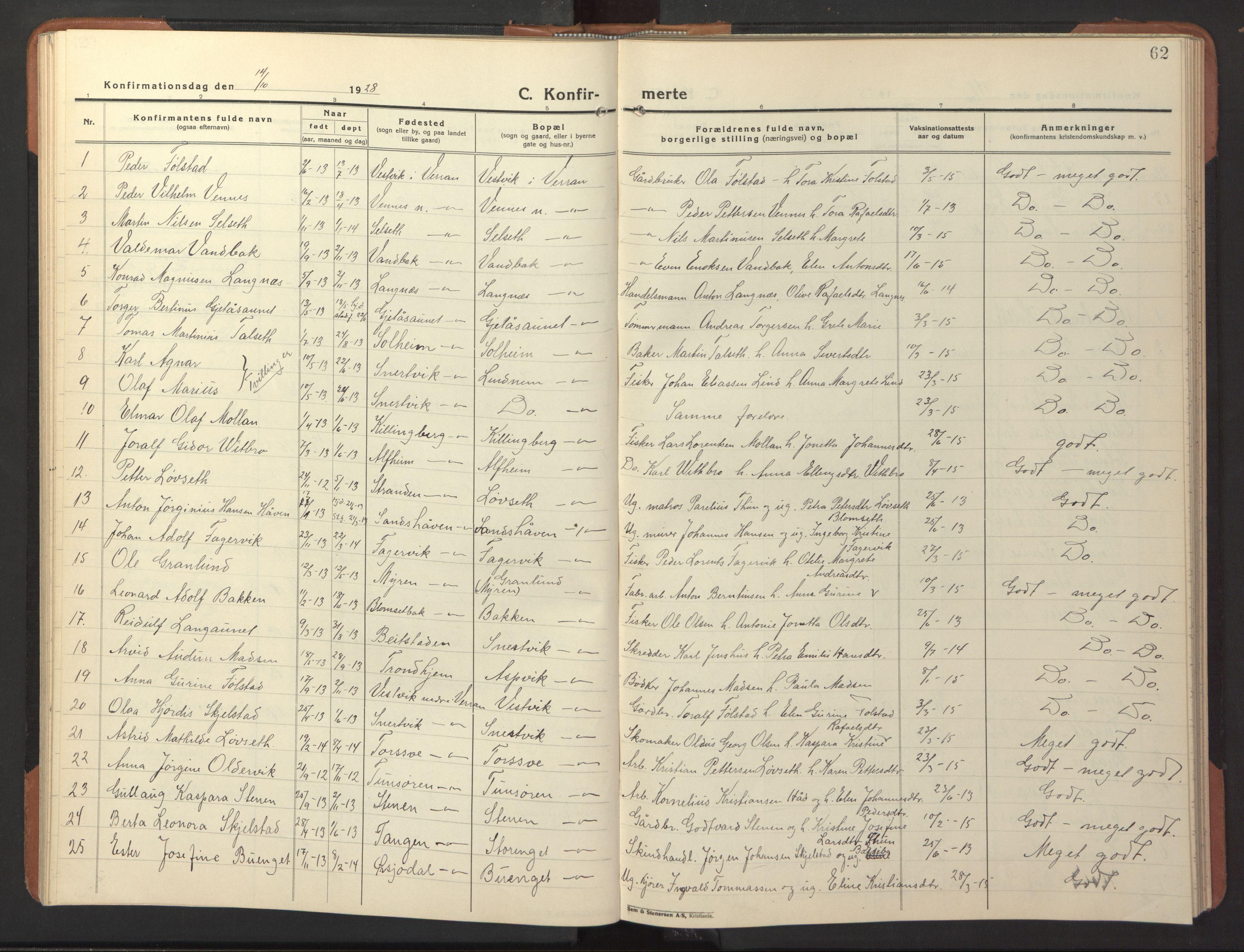 SAT, Ministerialprotokoller, klokkerbøker og fødselsregistre - Nord-Trøndelag, 744/L0425: Klokkerbok nr. 744C04, 1924-1947, s. 62