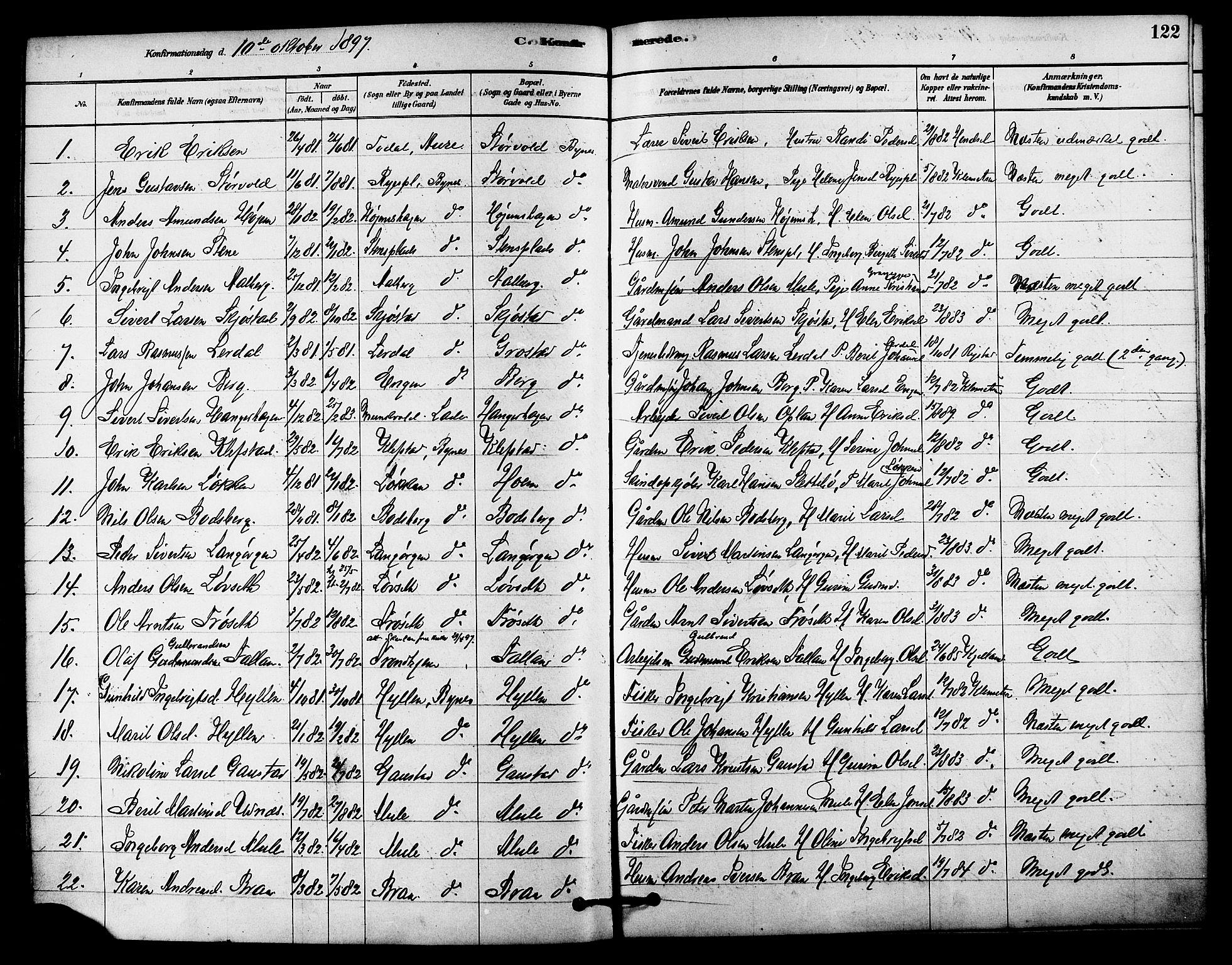 SAT, Ministerialprotokoller, klokkerbøker og fødselsregistre - Sør-Trøndelag, 612/L0378: Ministerialbok nr. 612A10, 1878-1897, s. 122