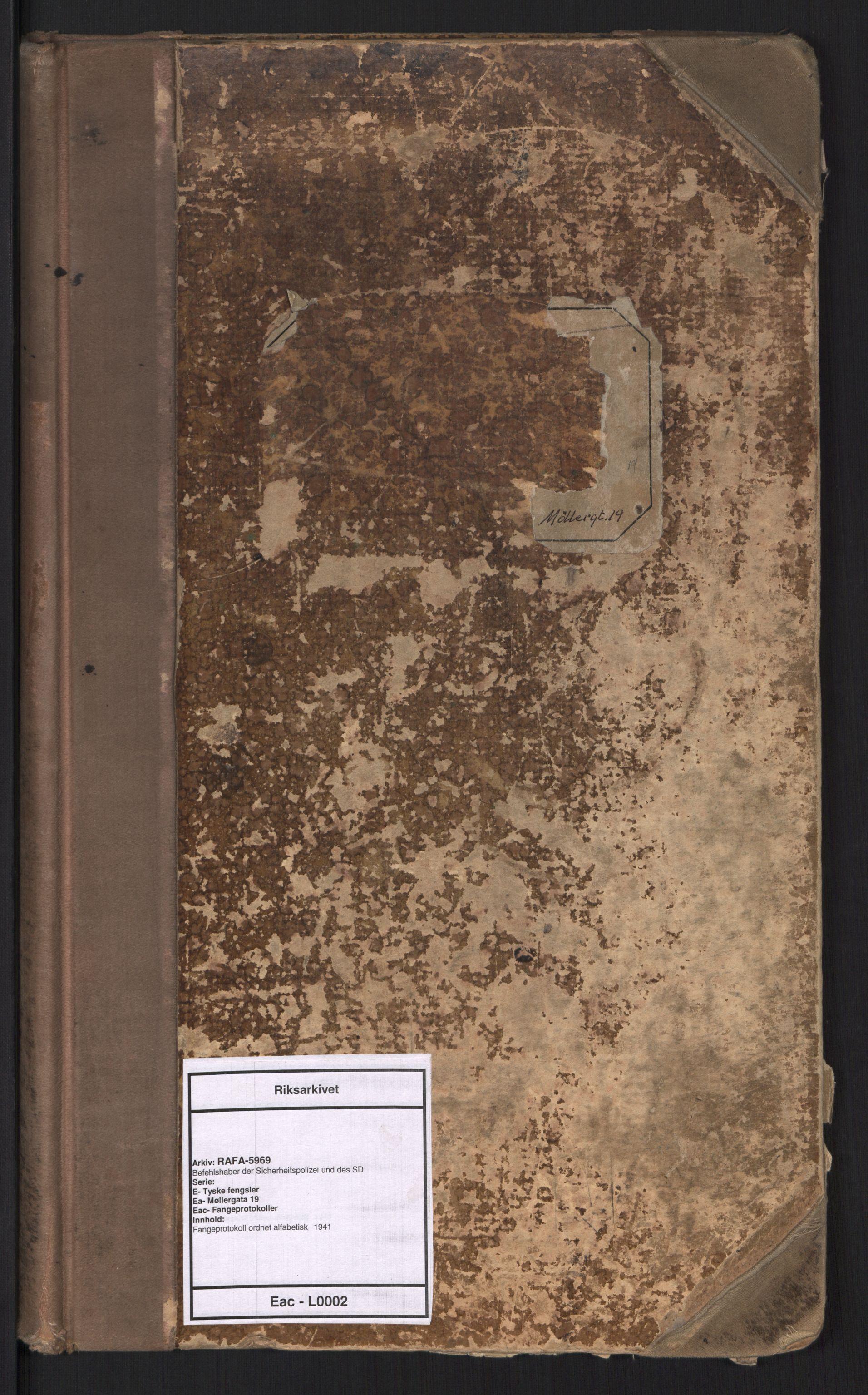 RA, Befehlshaber der Sicherheitspolizei und des SD, E/Ea/Eac/L0002: Fangeprotokoll ordnet alfabetisk , 1941