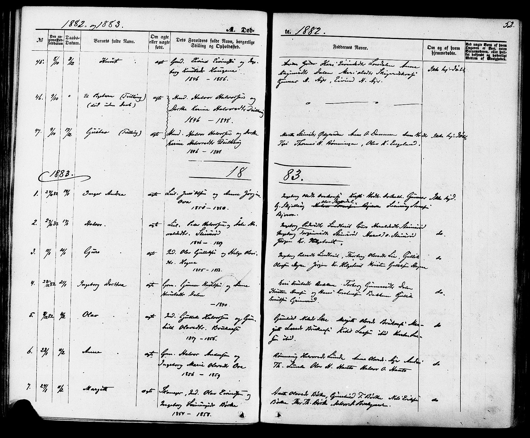 SAKO, Lunde kirkebøker, F/Fa/L0001: Ministerialbok nr. I 1, 1866-1883, s. 52