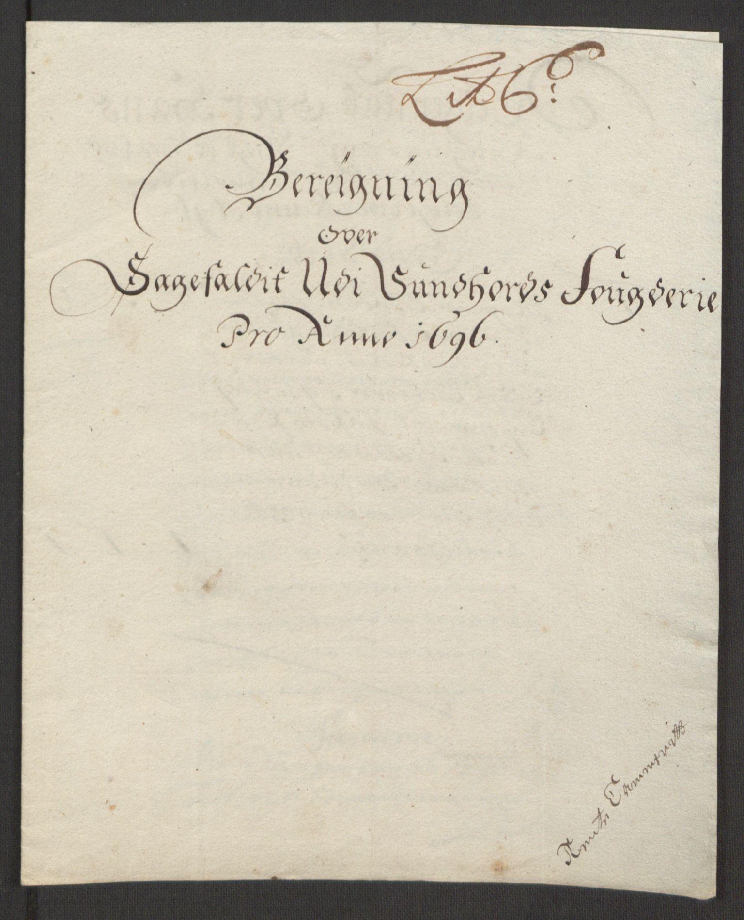 RA, Rentekammeret inntil 1814, Reviderte regnskaper, Fogderegnskap, R48/L2976: Fogderegnskap Sunnhordland og Hardanger, 1695-1696, s. 367