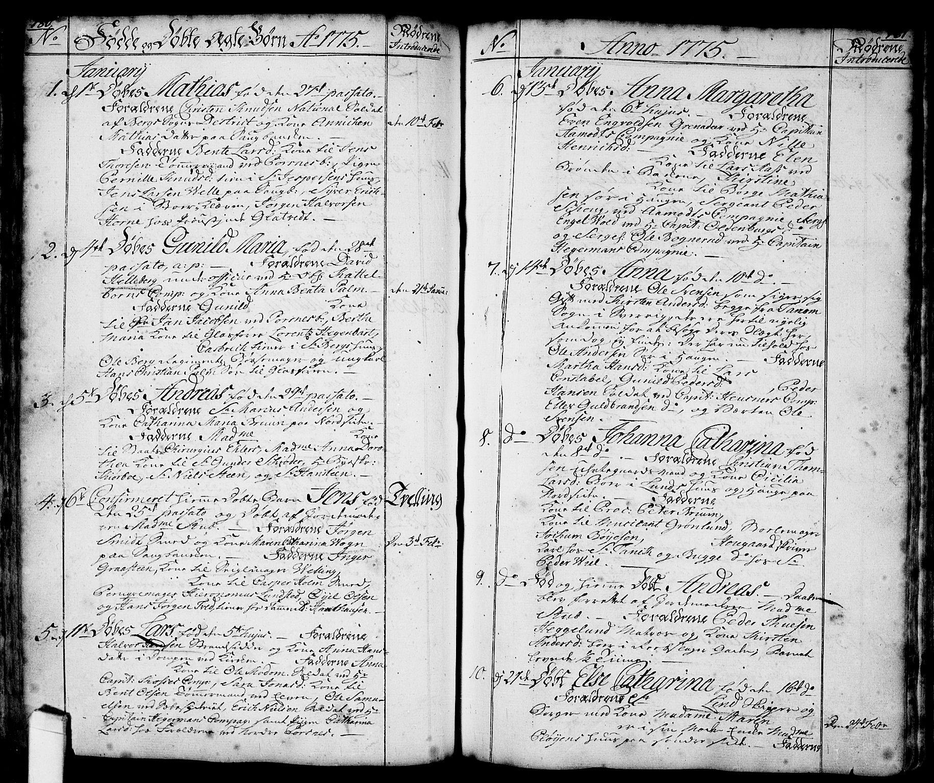 SAO, Halden prestekontor Kirkebøker, F/Fa/L0001: Ministerialbok nr. I 1, 1758-1791, s. 180-181