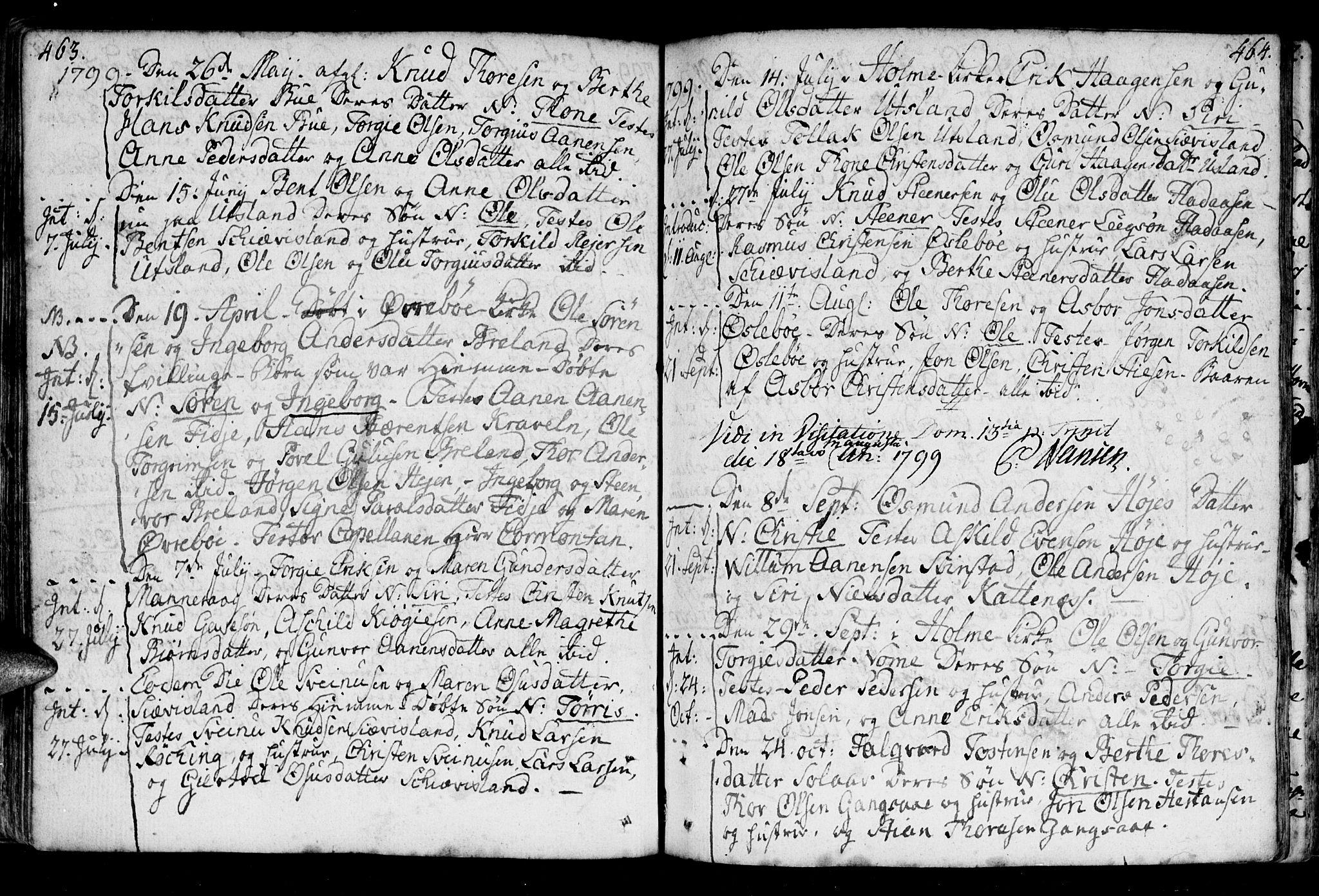 SAK, Holum sokneprestkontor, F/Fa/Fac/L0001: Ministerialbok nr. A 1, 1773-1820, s. 463-464