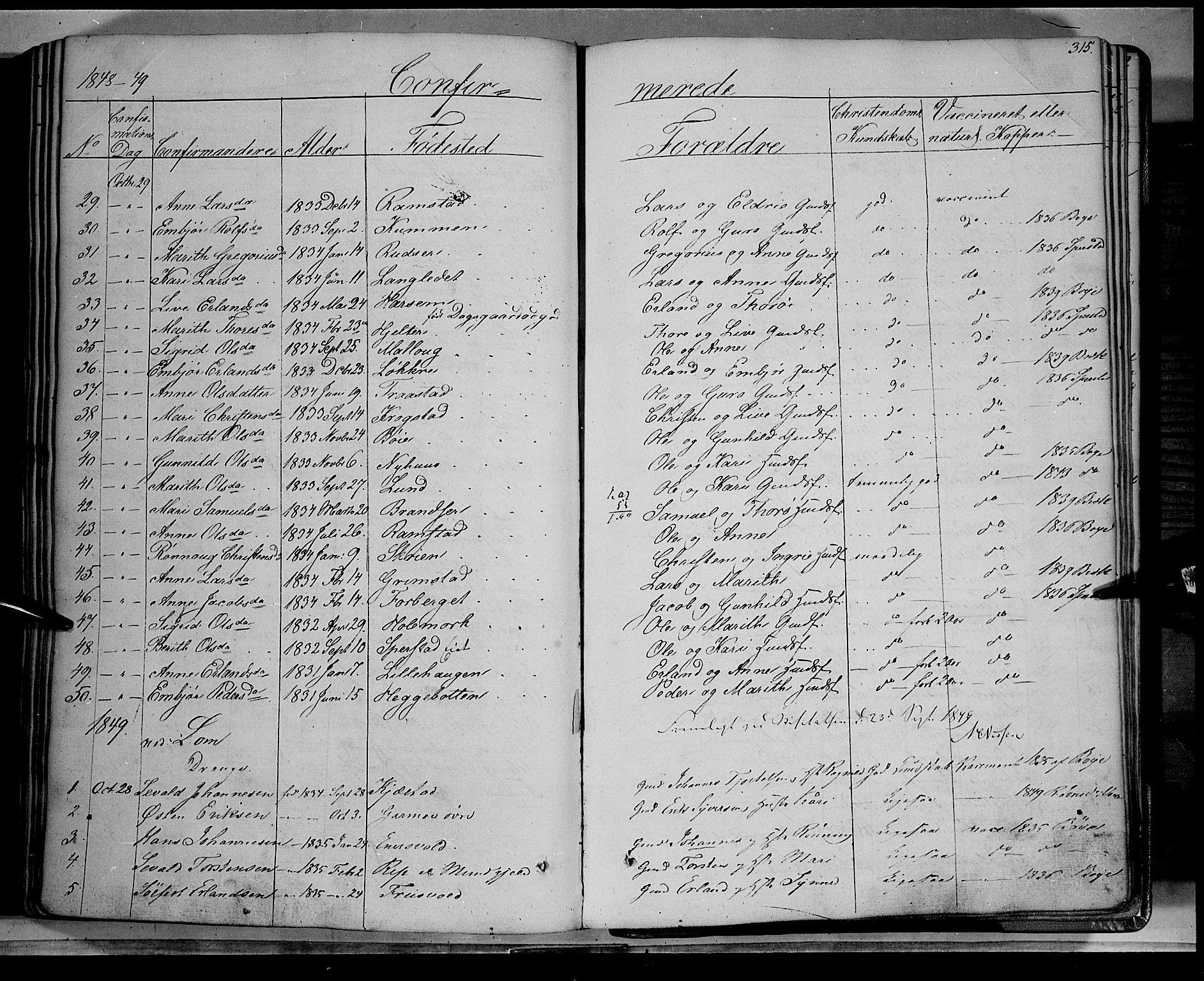 SAH, Lom prestekontor, K/L0006: Ministerialbok nr. 6A, 1837-1863, s. 315