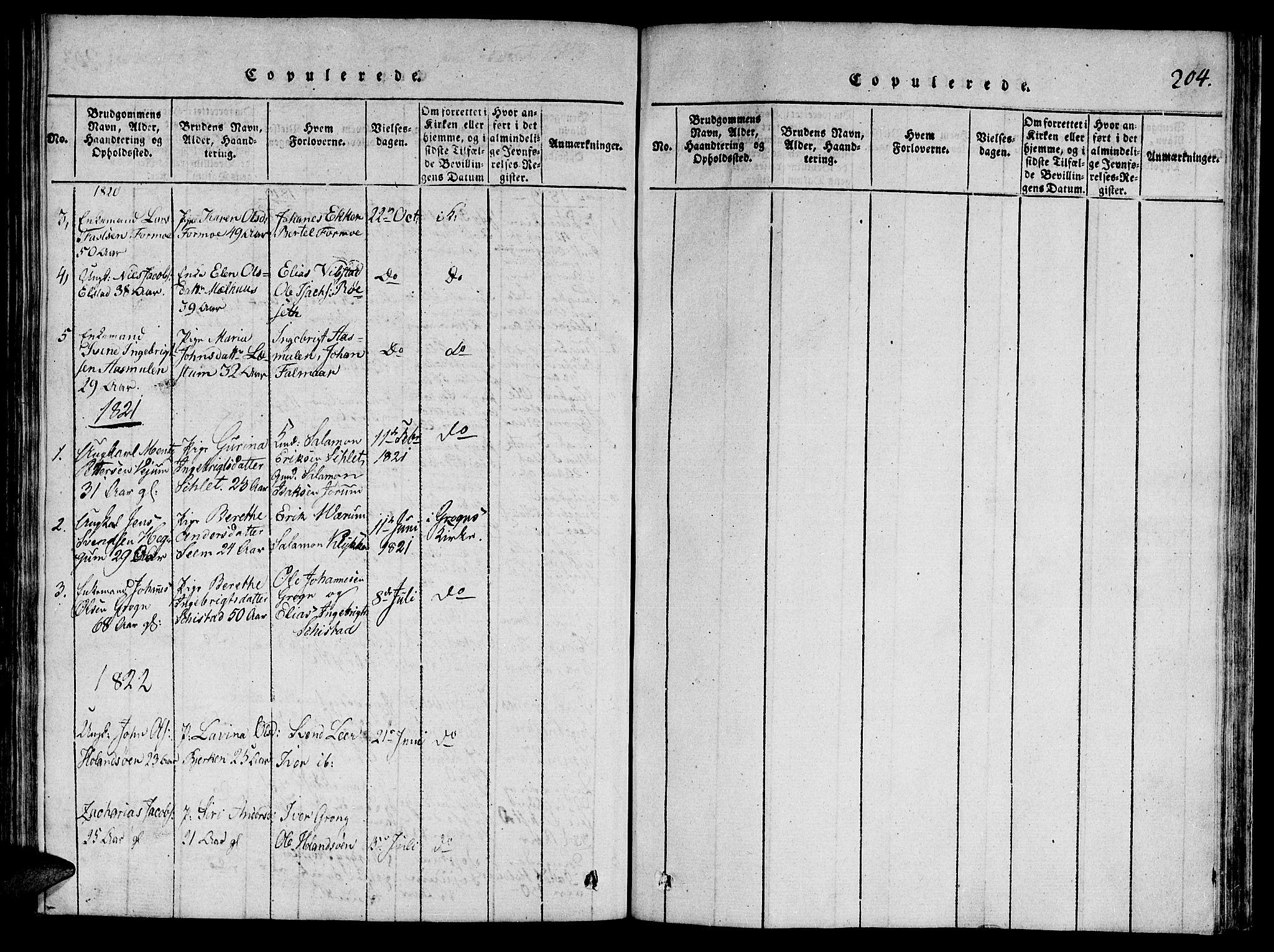 SAT, Ministerialprotokoller, klokkerbøker og fødselsregistre - Nord-Trøndelag, 764/L0546: Ministerialbok nr. 764A06 /2, 1817-1822, s. 204