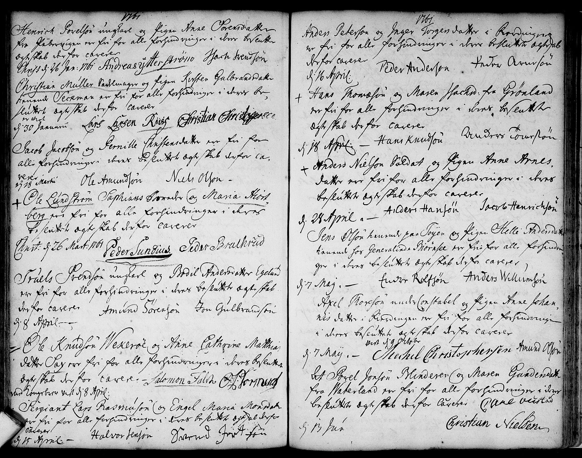 SAO, Aker prestekontor kirkebøker, L/L0002: Forlovererklæringer nr. 2, 1734-1773
