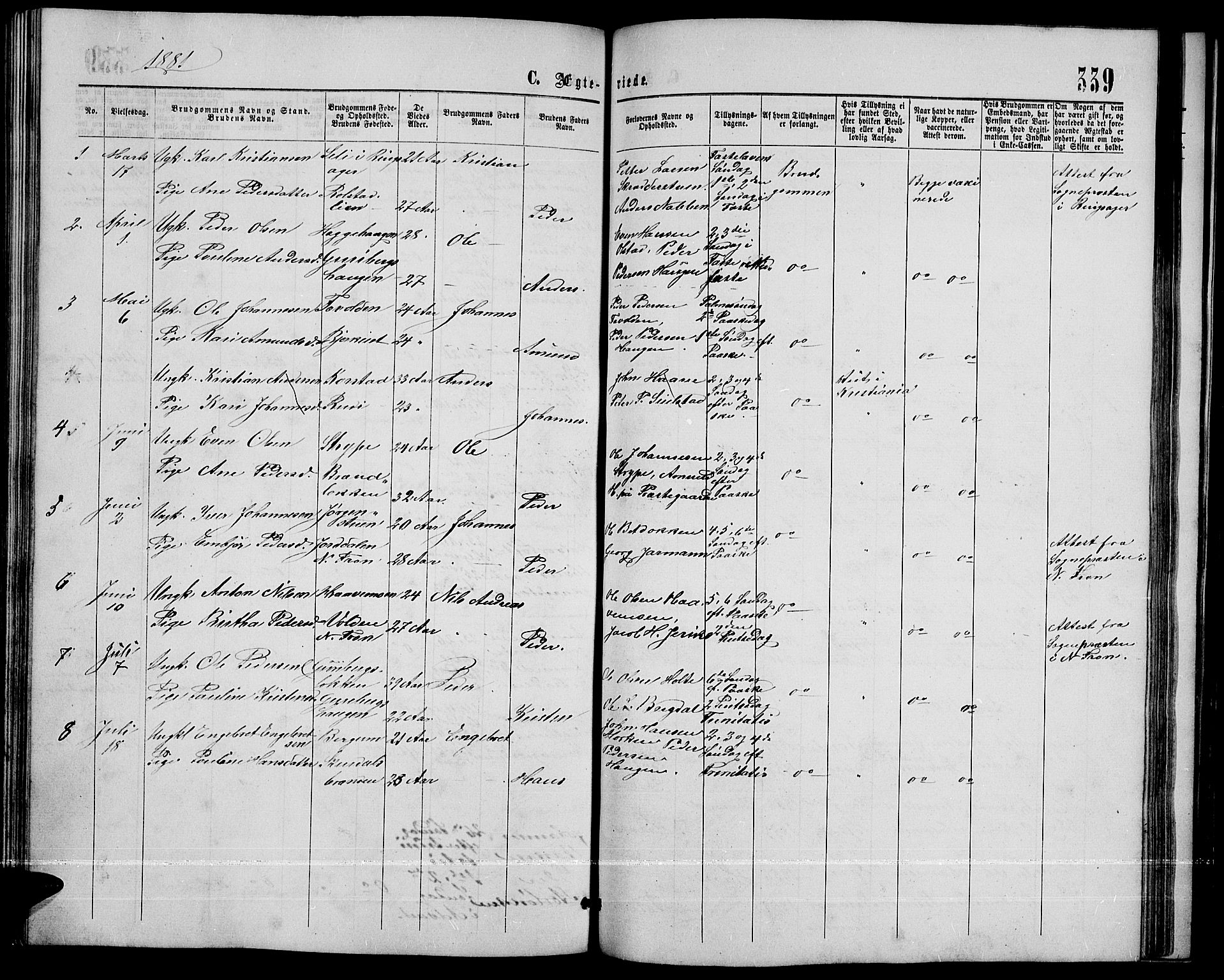 SAH, Sør-Fron prestekontor, H/Ha/Hab/L0002: Klokkerbok nr. 2, 1864-1883, s. 339
