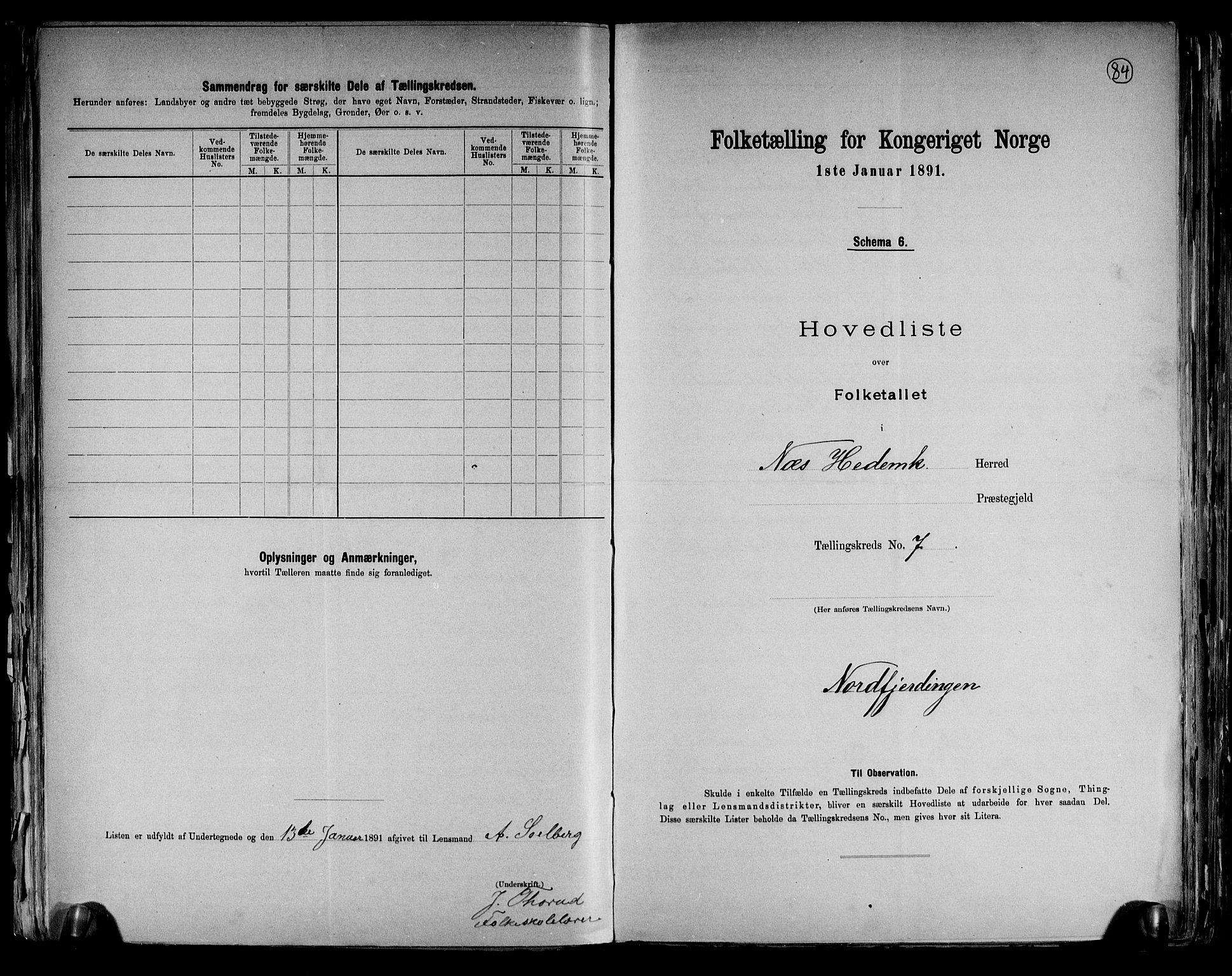 RA, Folketelling 1891 for 0411 Nes herred, 1891, s. 22