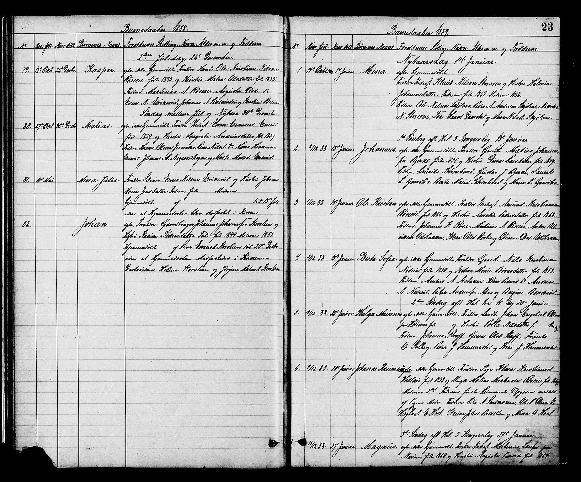 SAH, Vestre Toten prestekontor, H/Ha/Hab/L0008: Klokkerbok nr. 8, 1885-1900, s. 23