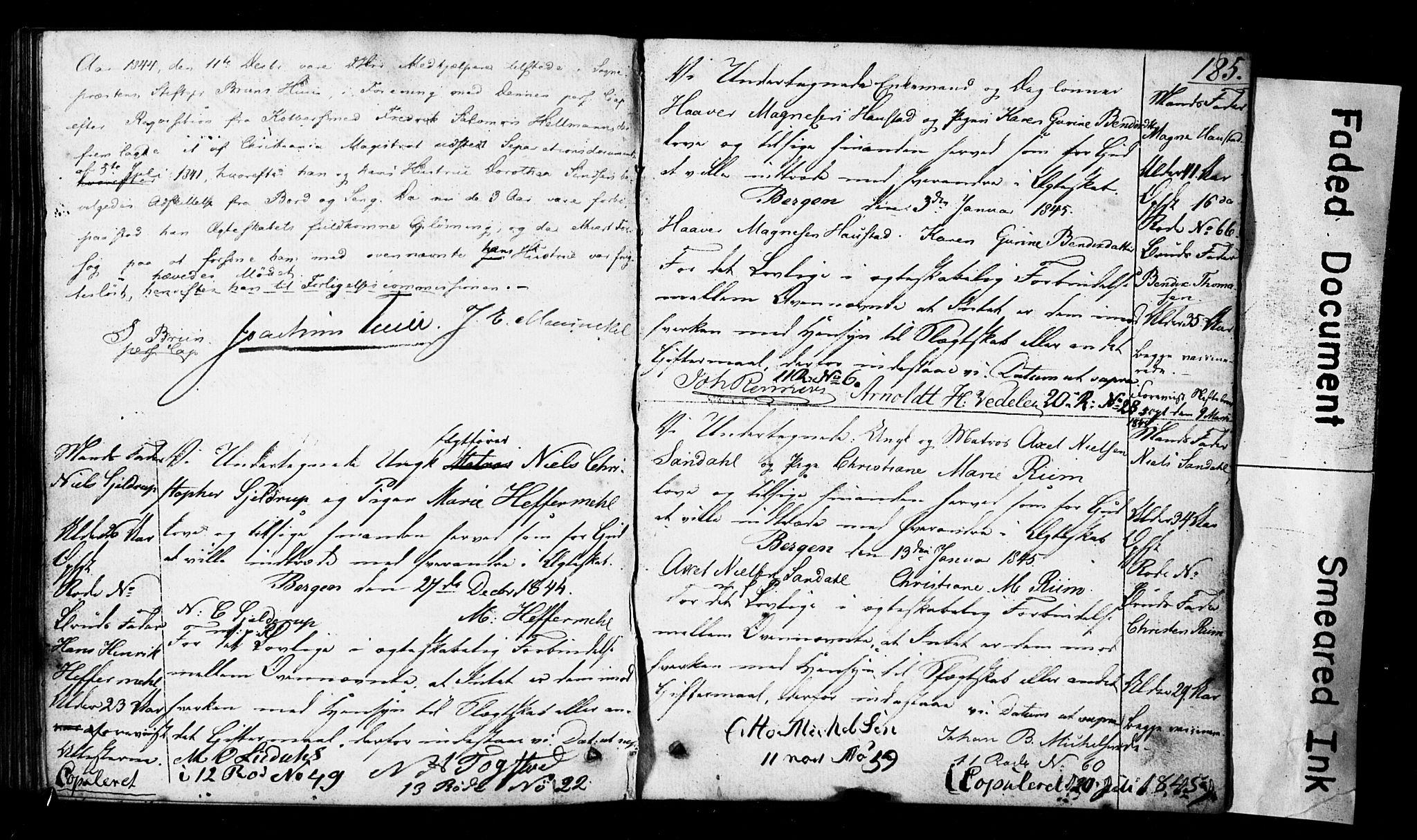 SAB, Domkirken Sokneprestembete, Forlovererklæringer nr. II.5.3, 1832-1845, s. 185
