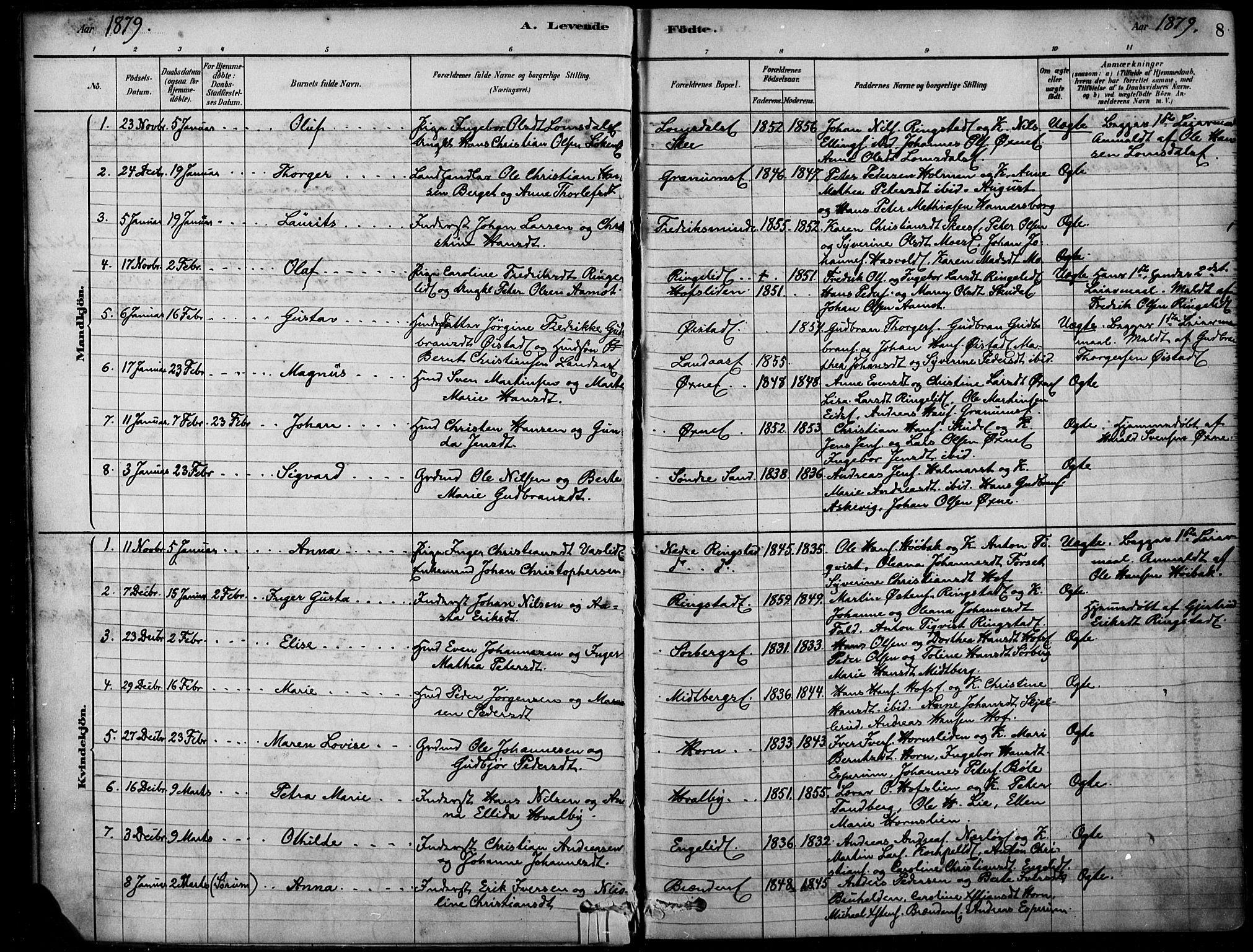 SAH, Søndre Land prestekontor, K/L0003: Ministerialbok nr. 3, 1878-1894, s. 8