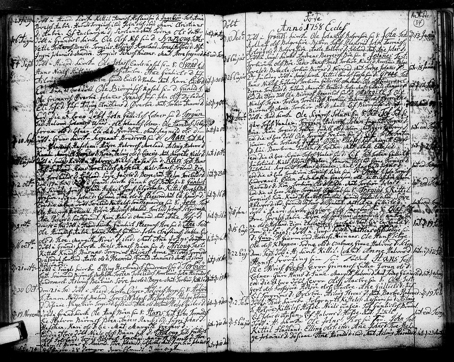 SAKO, Hjartdal kirkebøker, F/Fa/L0003: Ministerialbok nr. I 3, 1727-1775, s. 84