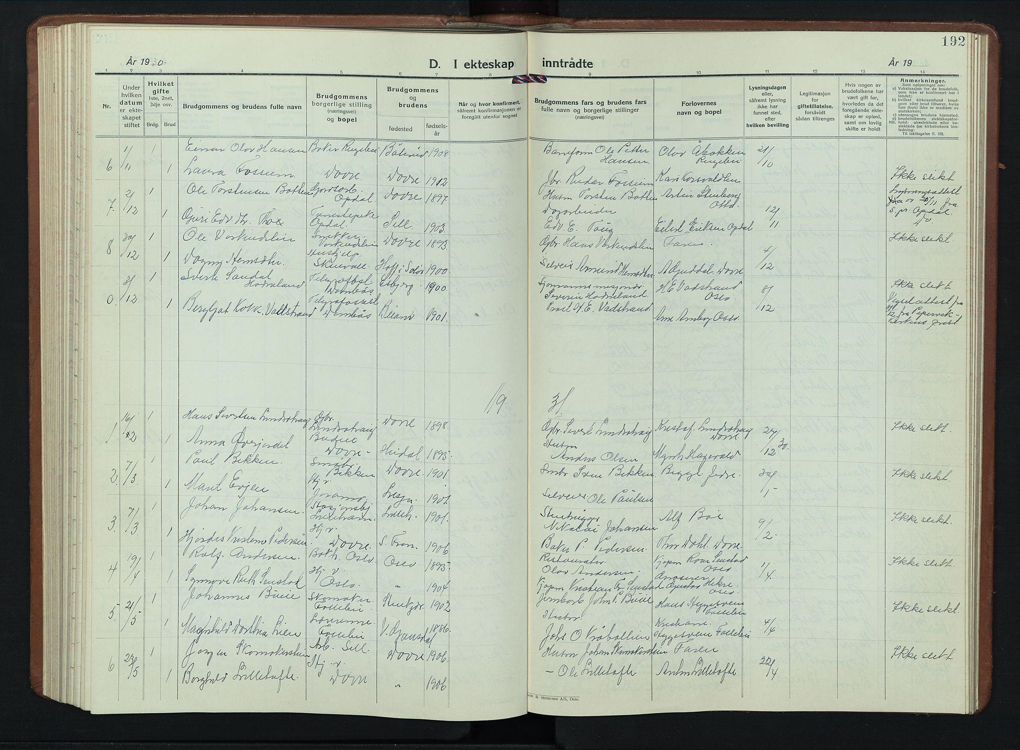SAH, Dovre prestekontor, Klokkerbok nr. 4, 1926-1949, s. 192