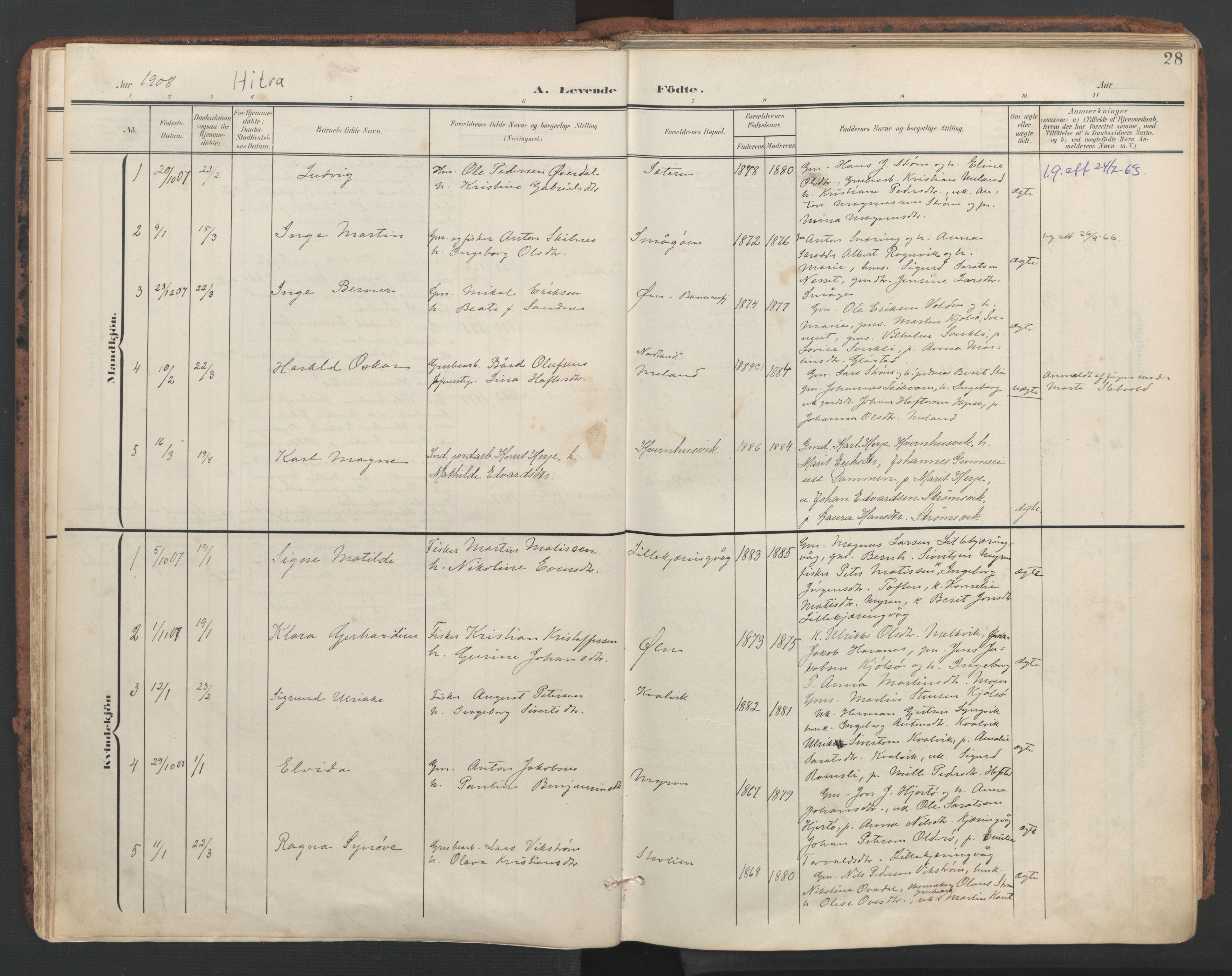 SAT, Ministerialprotokoller, klokkerbøker og fødselsregistre - Sør-Trøndelag, 634/L0537: Ministerialbok nr. 634A13, 1896-1922, s. 28