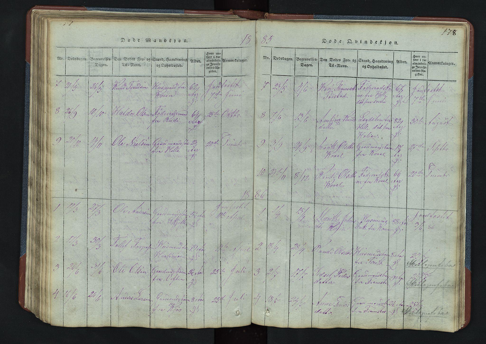 SAH, Vang prestekontor, Valdres, Klokkerbok nr. 3, 1814-1892, s. 178