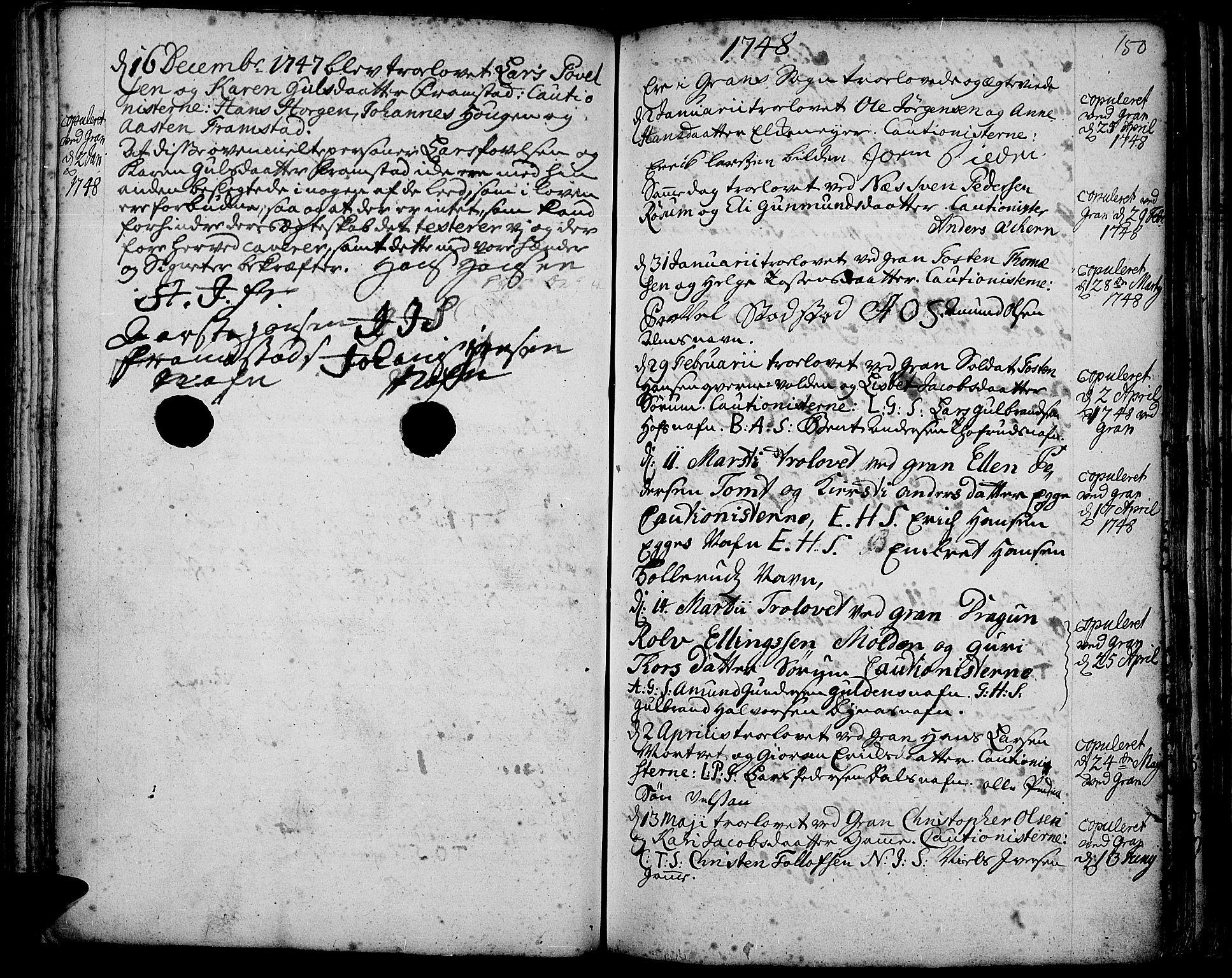 SAH, Gran prestekontor, Ministerialbok nr. 3, 1745-1758, s. 150
