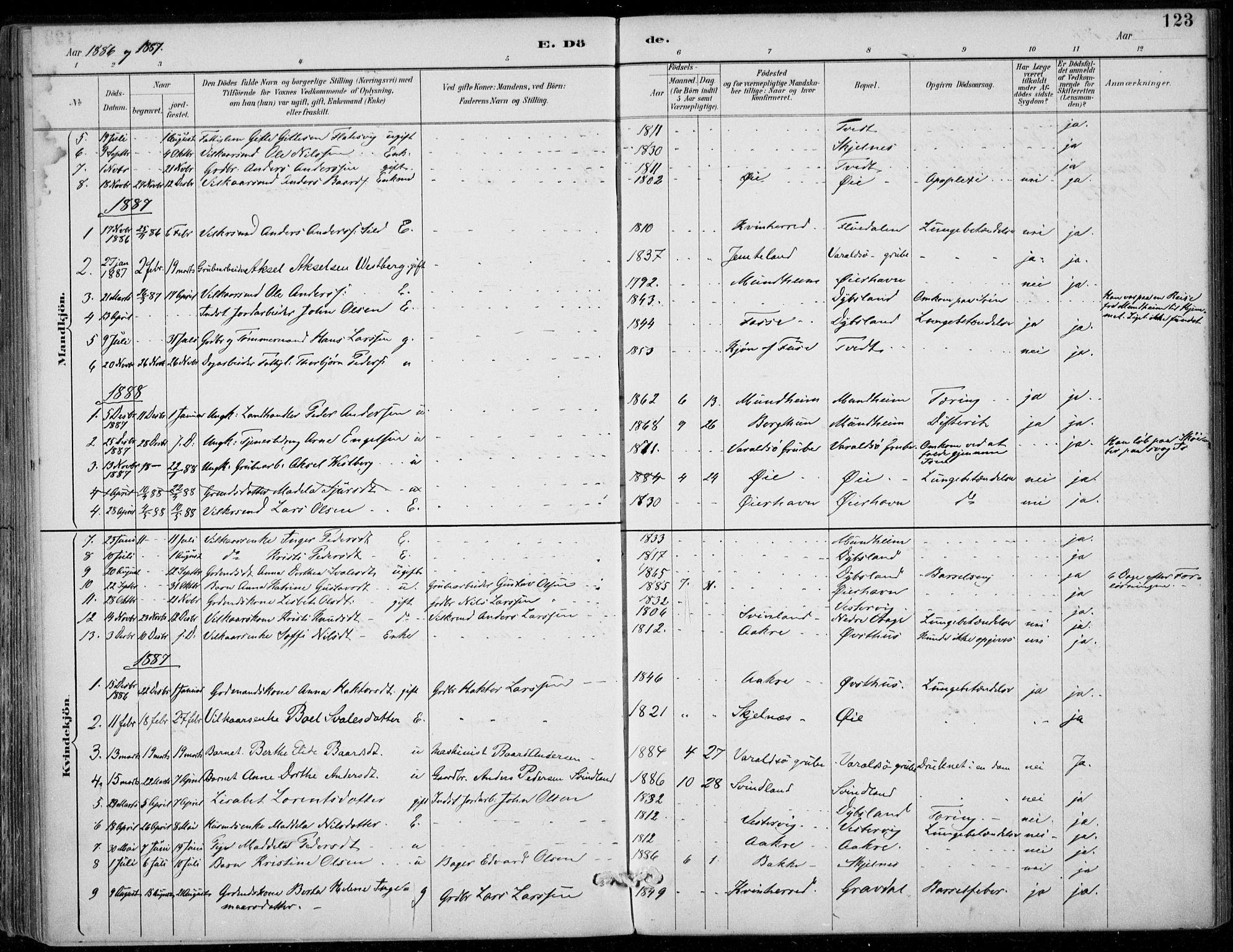 SAB, Strandebarm sokneprestembete, H/Haa: Ministerialbok nr. D  1, 1886-1912, s. 123