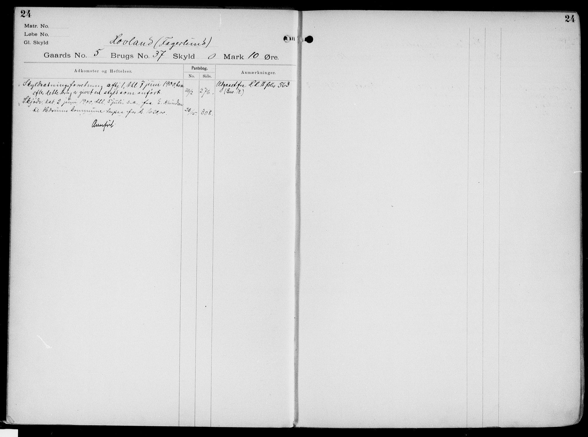 SAKO, Larvik sorenskriveri, G/Gb/Gbg/L0003a: Panteregister nr. VI 3, s. 24