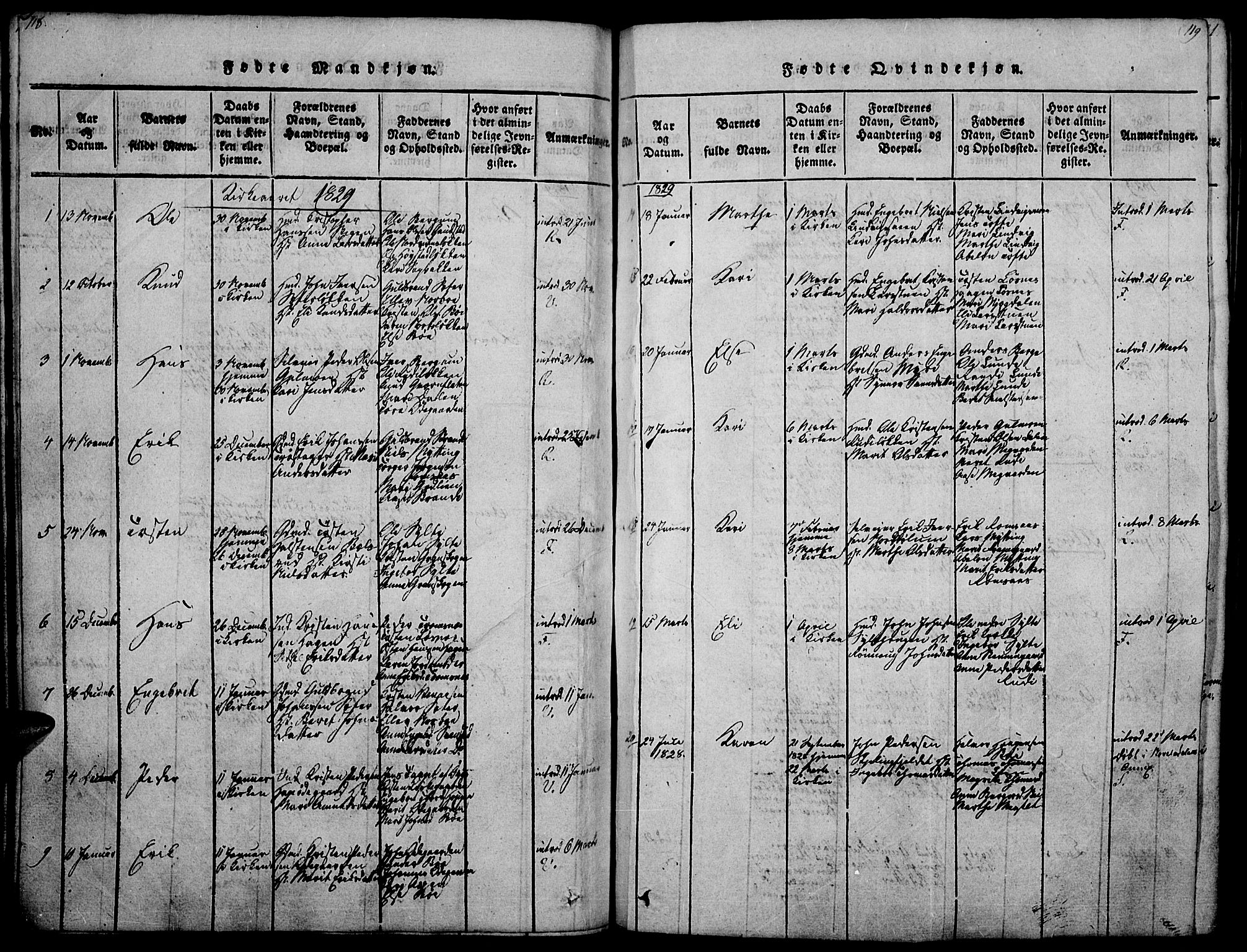 SAH, Ringebu prestekontor, Ministerialbok nr. 4, 1821-1839, s. 118-119