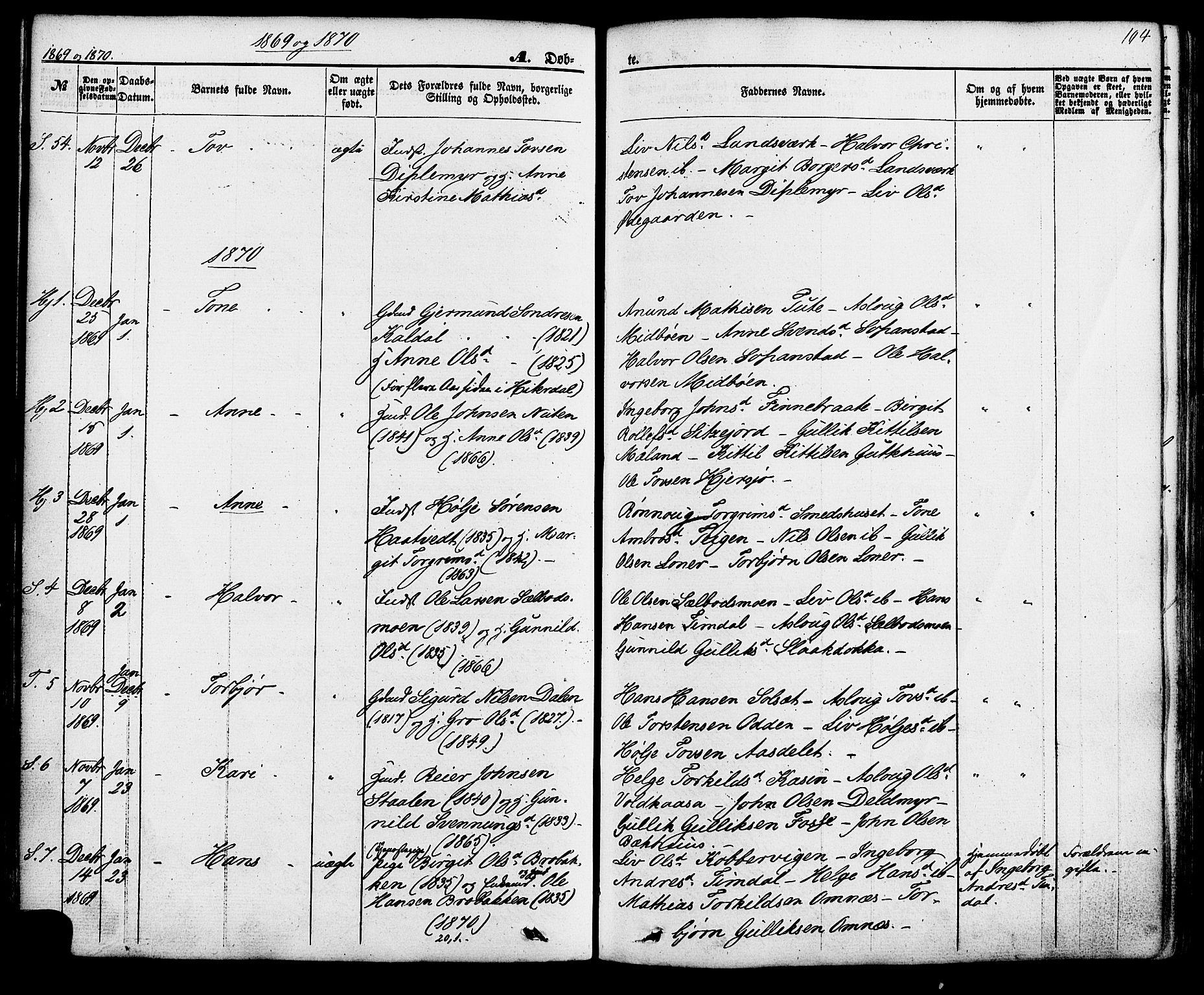 SAKO, Hjartdal kirkebøker, F/Fa/L0009: Ministerialbok nr. I 9, 1860-1879, s. 104