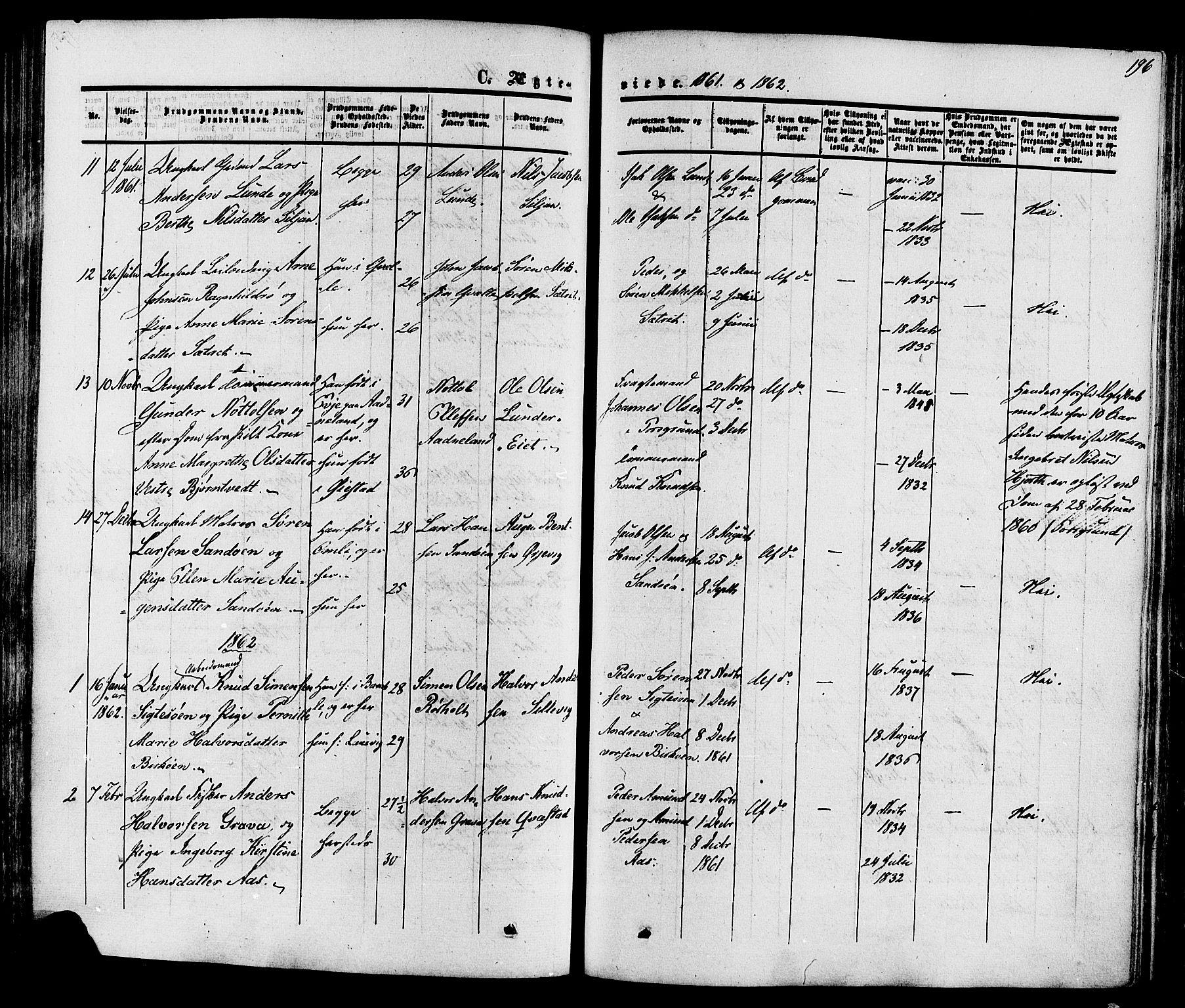 SAKO, Eidanger kirkebøker, F/Fa/L0010: Ministerialbok nr. 10, 1859-1874, s. 196